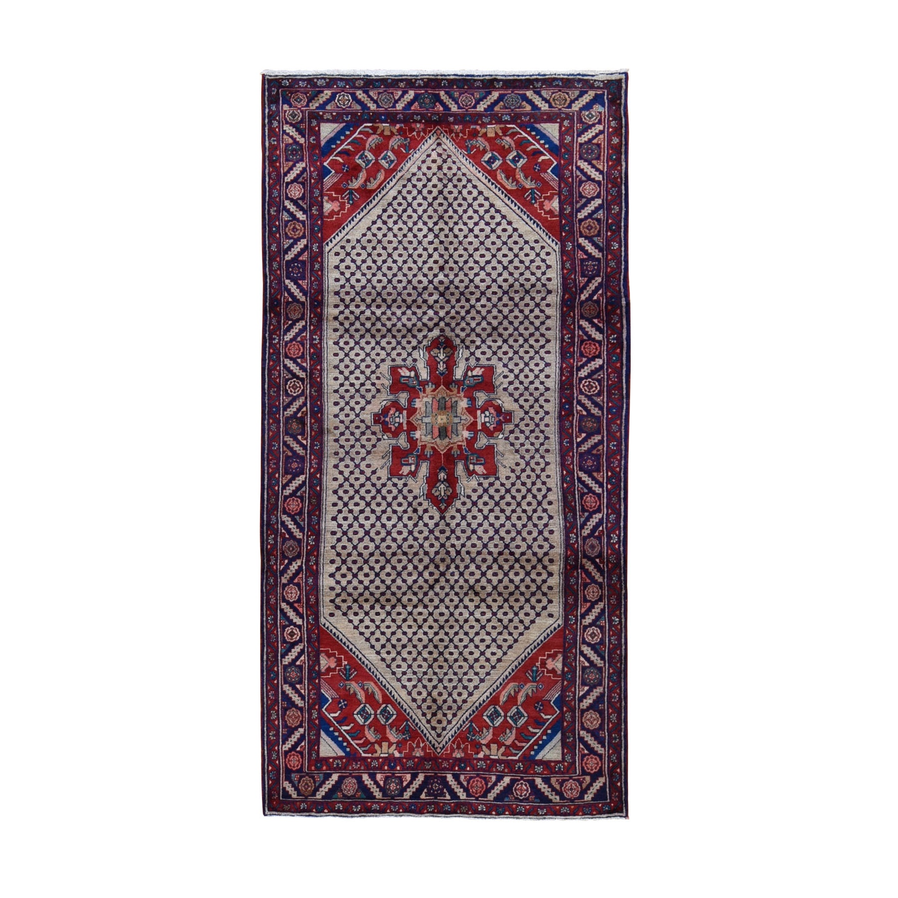 "5'1""x10'2"" Gallery Size New Persian Hamadan Pure Wool Hand Knotted Oriental Rug"