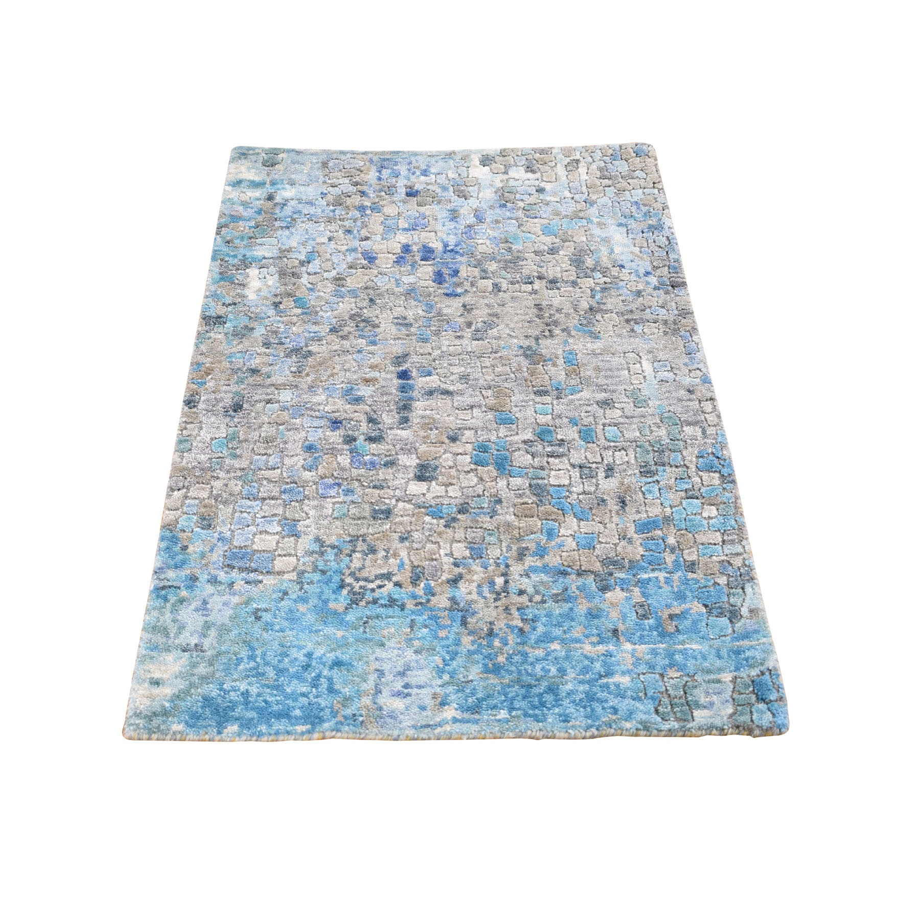 2'x3' Abstract Mosaic Wool And Silk Hand Knotted Oriental Rug
