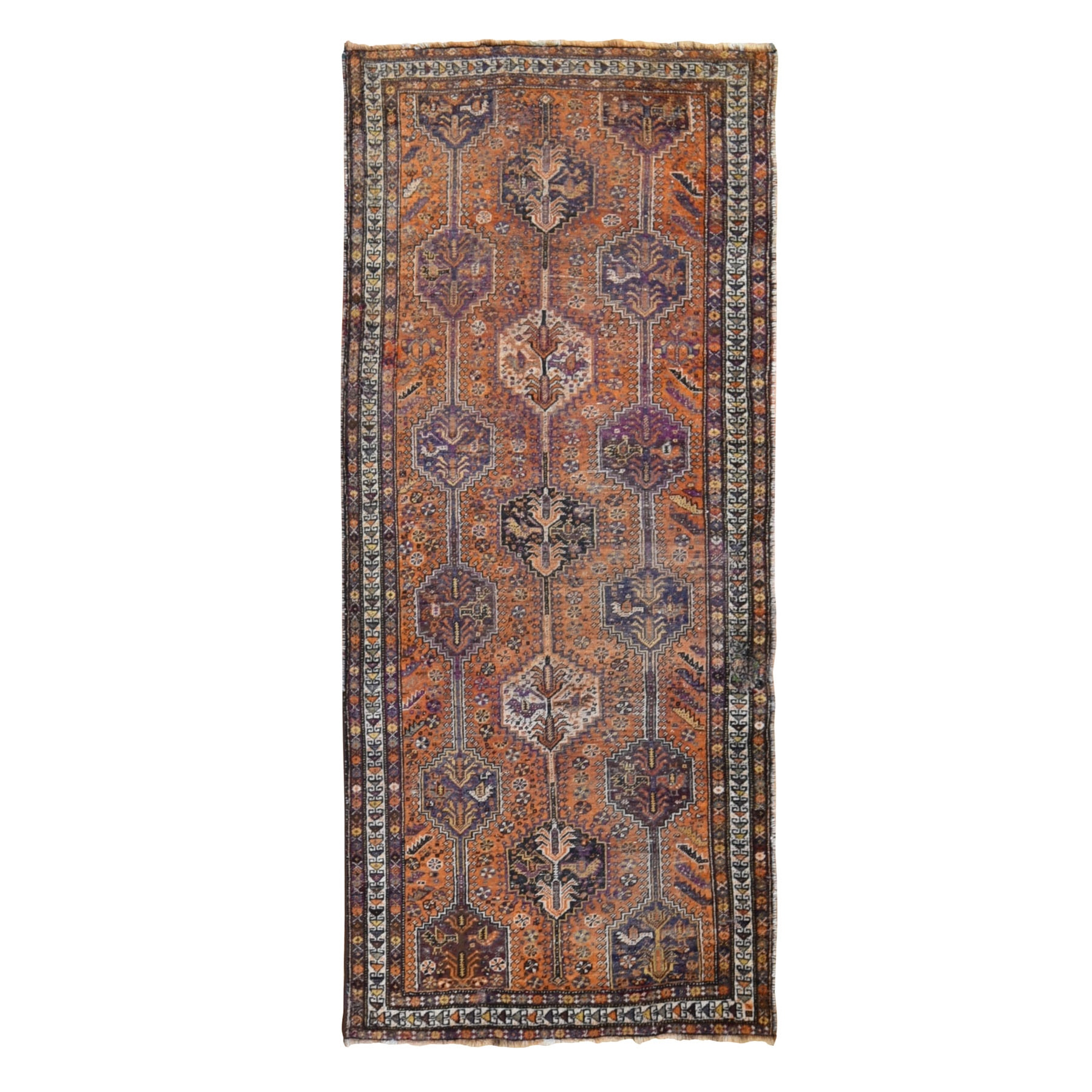 "4'x9'5"" Orange Gallery Size Old Persian Shiraz Worn And Repaired Hand Knotted Oriental Rug"