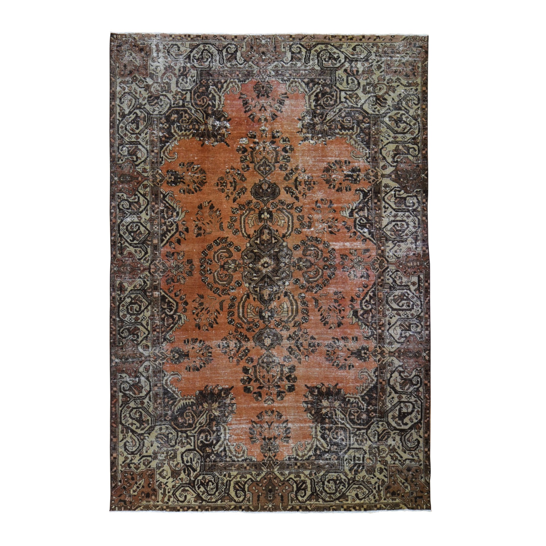 "6'6""x10'5"" Burnt Orange Vintage Persian Lilahan Worn Hand Knotted Oriental Rug"