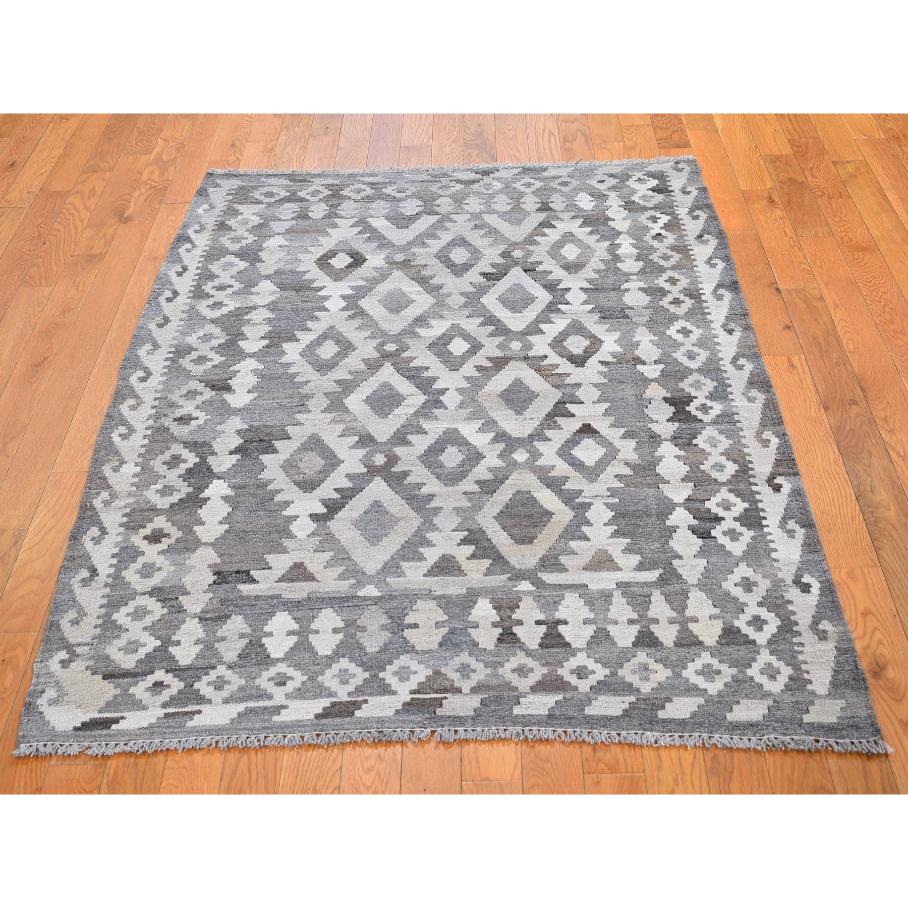 4-2 x5-9  Undyed Natural Wool Afghan Kilim Reversible Hand Woven Oriental Rug