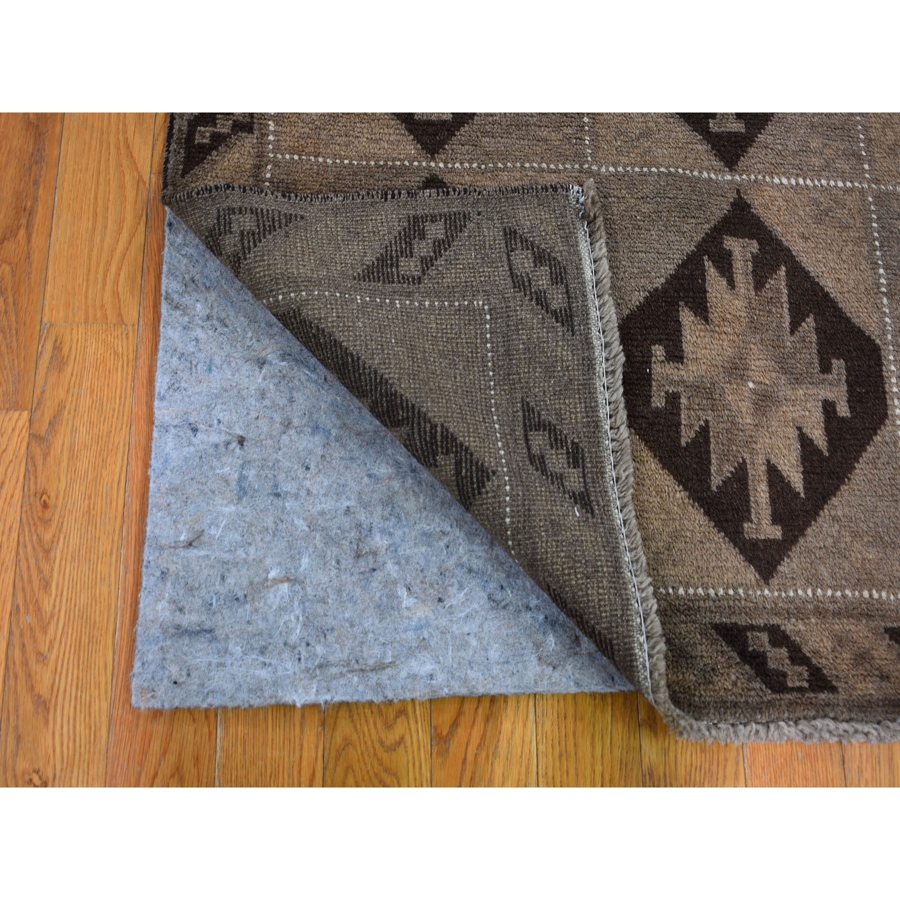 "3'7""x5'10"" Washed Out Afghan Baluch With Natural Colors Pure Wool Hand Knotted Oriental Rug"