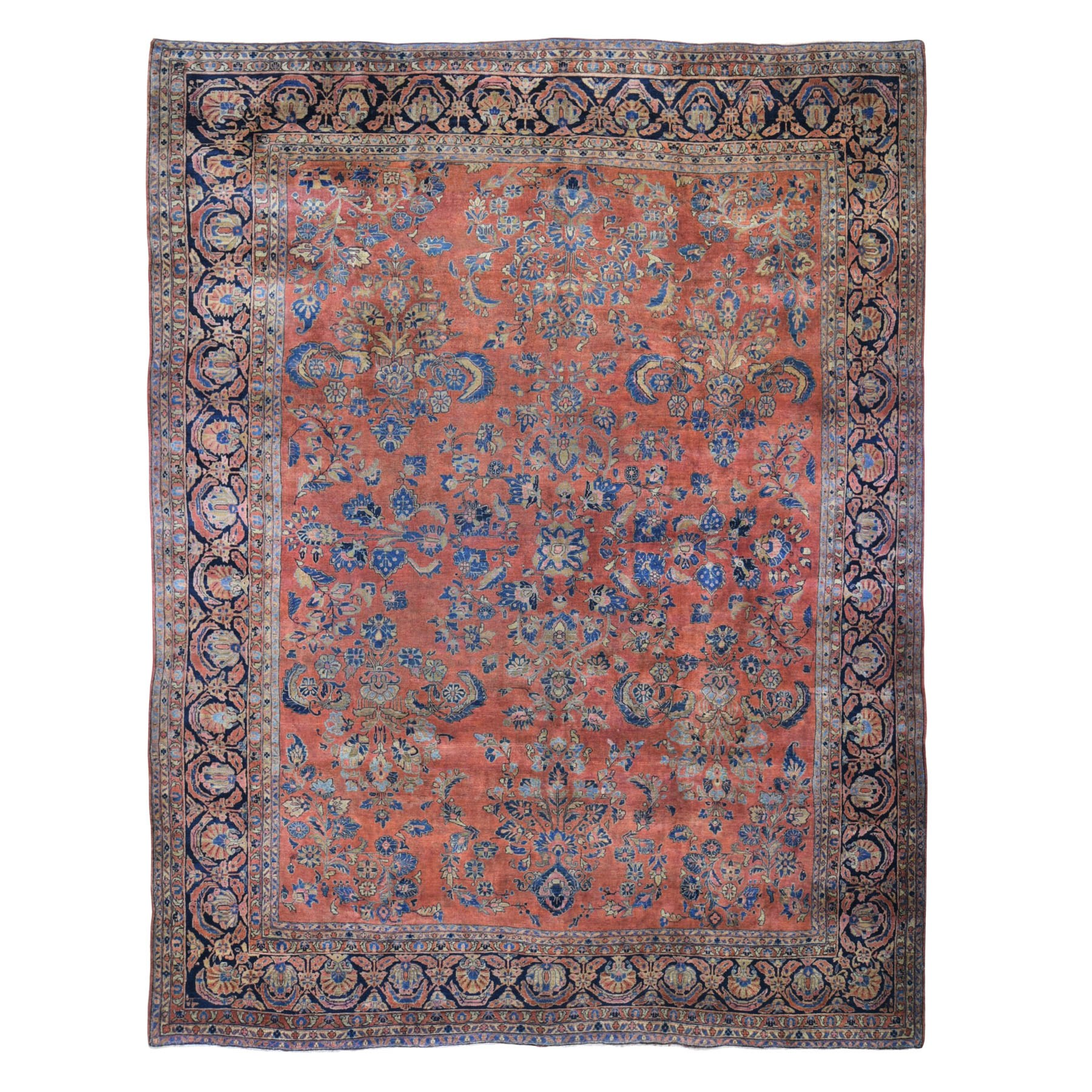 "10'6""X13'  Red Antique Persian Sarouk Even Wear Clean And Soft Hand Knotted Oriental Rug moad9c00"