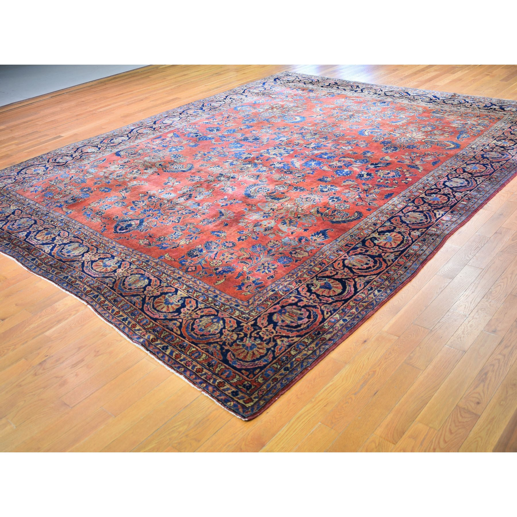 10-6 x13-  Red Antique Persian Sarouk Even Wear Clean And Soft Hand Knotted Oriental Rug
