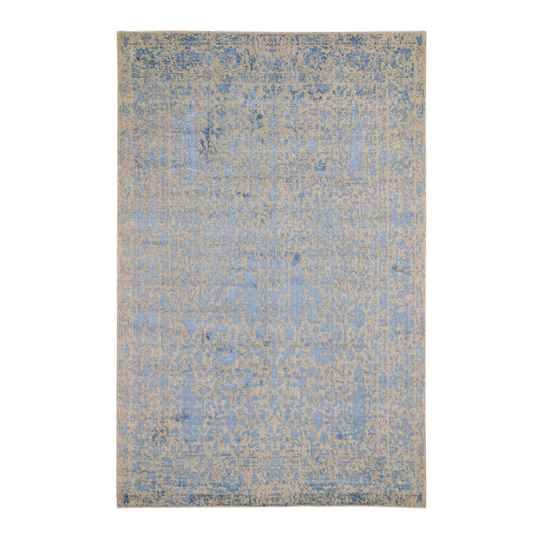 """5'10""""X9'2"""" Jacquard Hand Loomed Blue Broken Cypress Tree Design Wool And Art Silk Thick And Plush Oriental Rug moad9c08"""