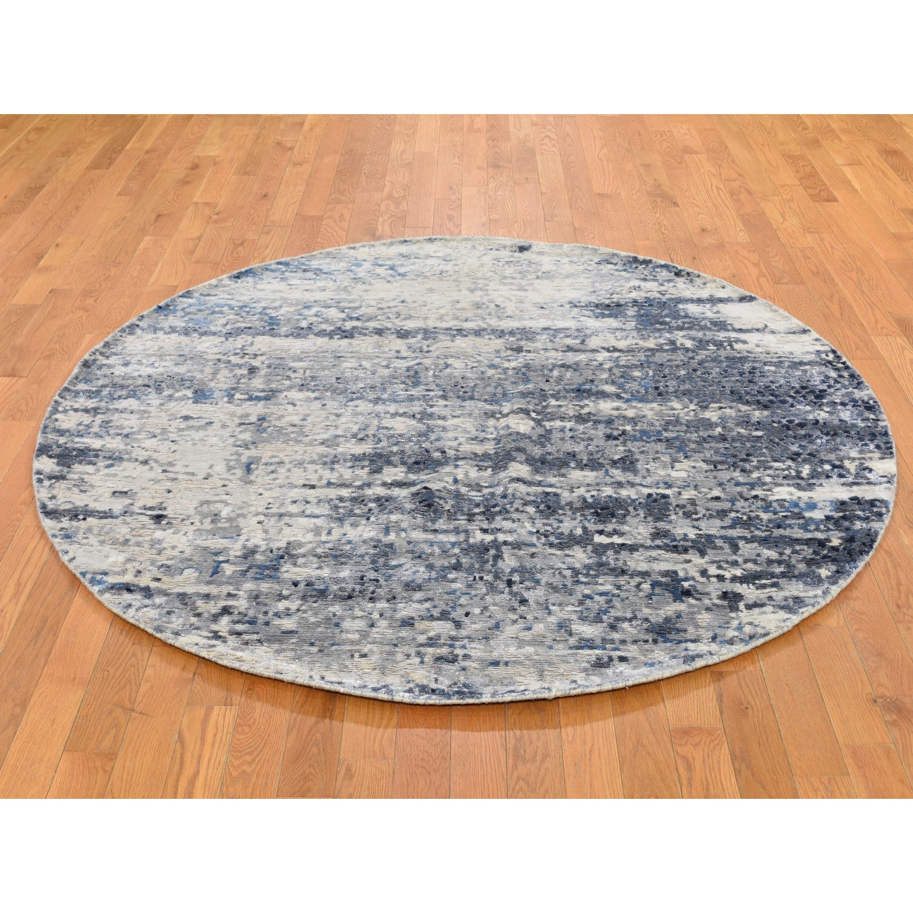 6'x6' Round Broken Mosaic Design Wool And Silk Hand Knotted Oriental Rug