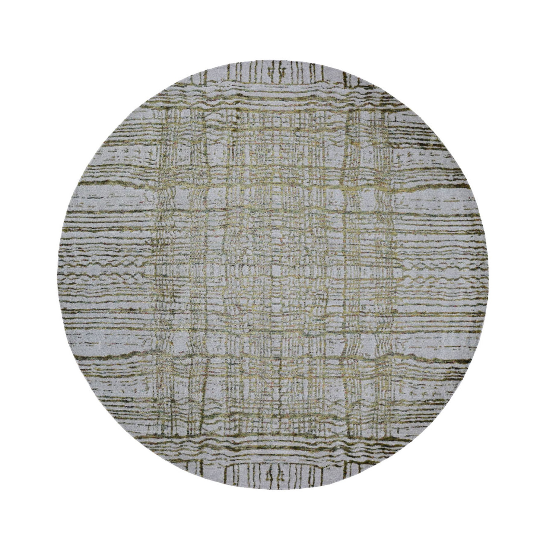 """7'10""""X7'10"""" Round Fine Jacquard Hand Loomed Modern Wool And Art Silk Oriental Rug moad9ca0"""