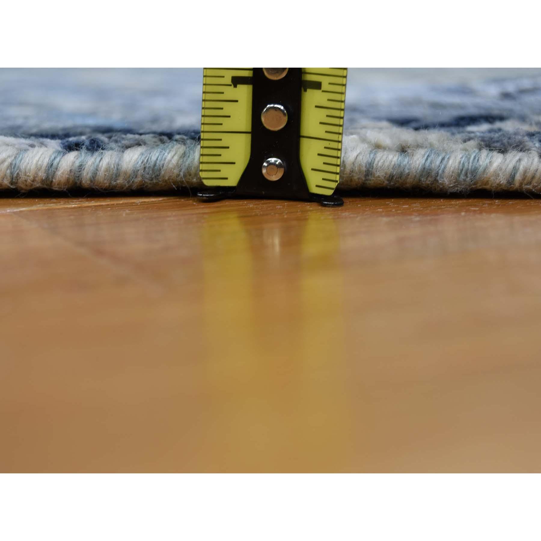 8'x8' Round Broken Mosaic Design Wool And Silk Hand Knotted Oriental Rug