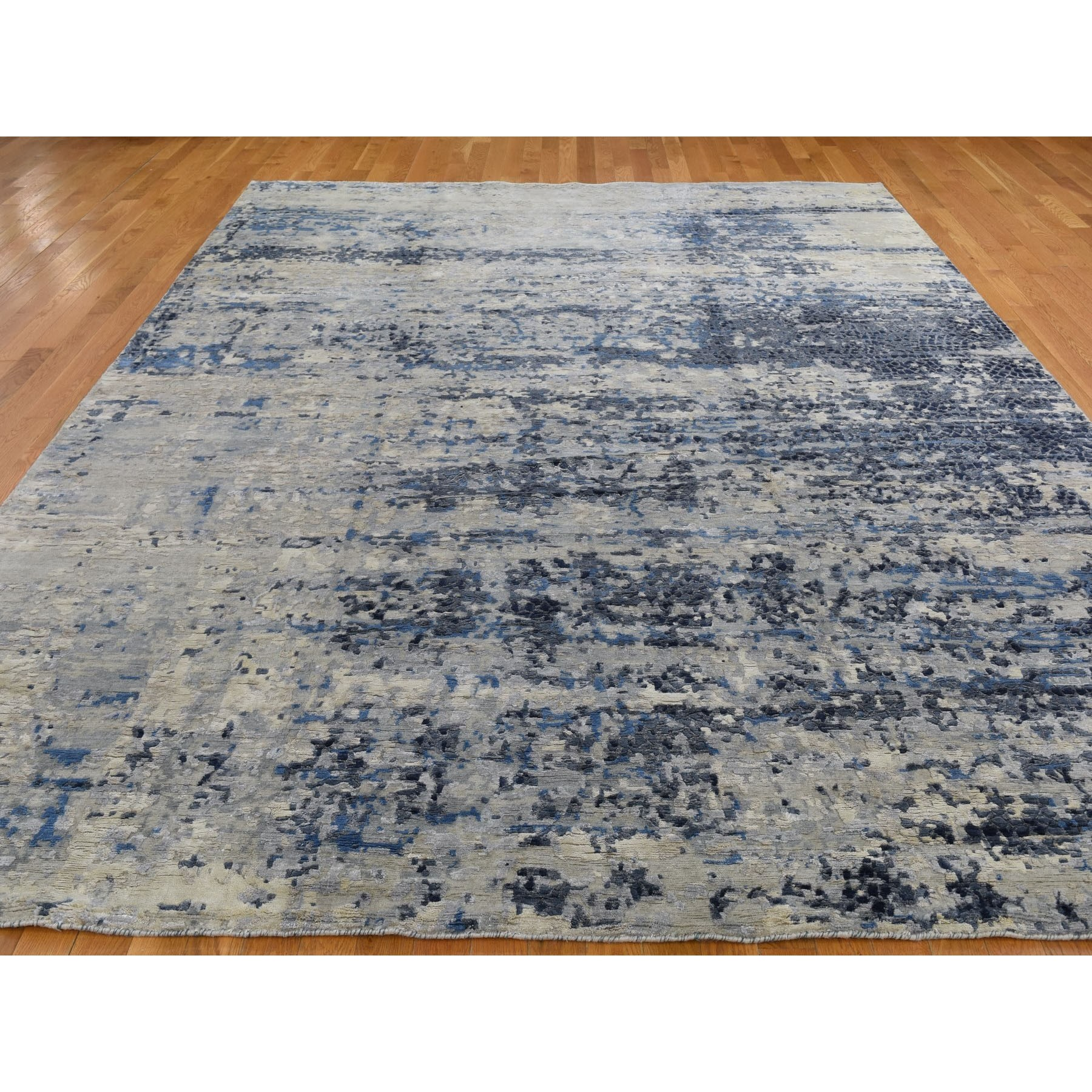 9'x12'  Abstract With Mosaic Design Wool And Silk Hand Knotted Oriental Rug