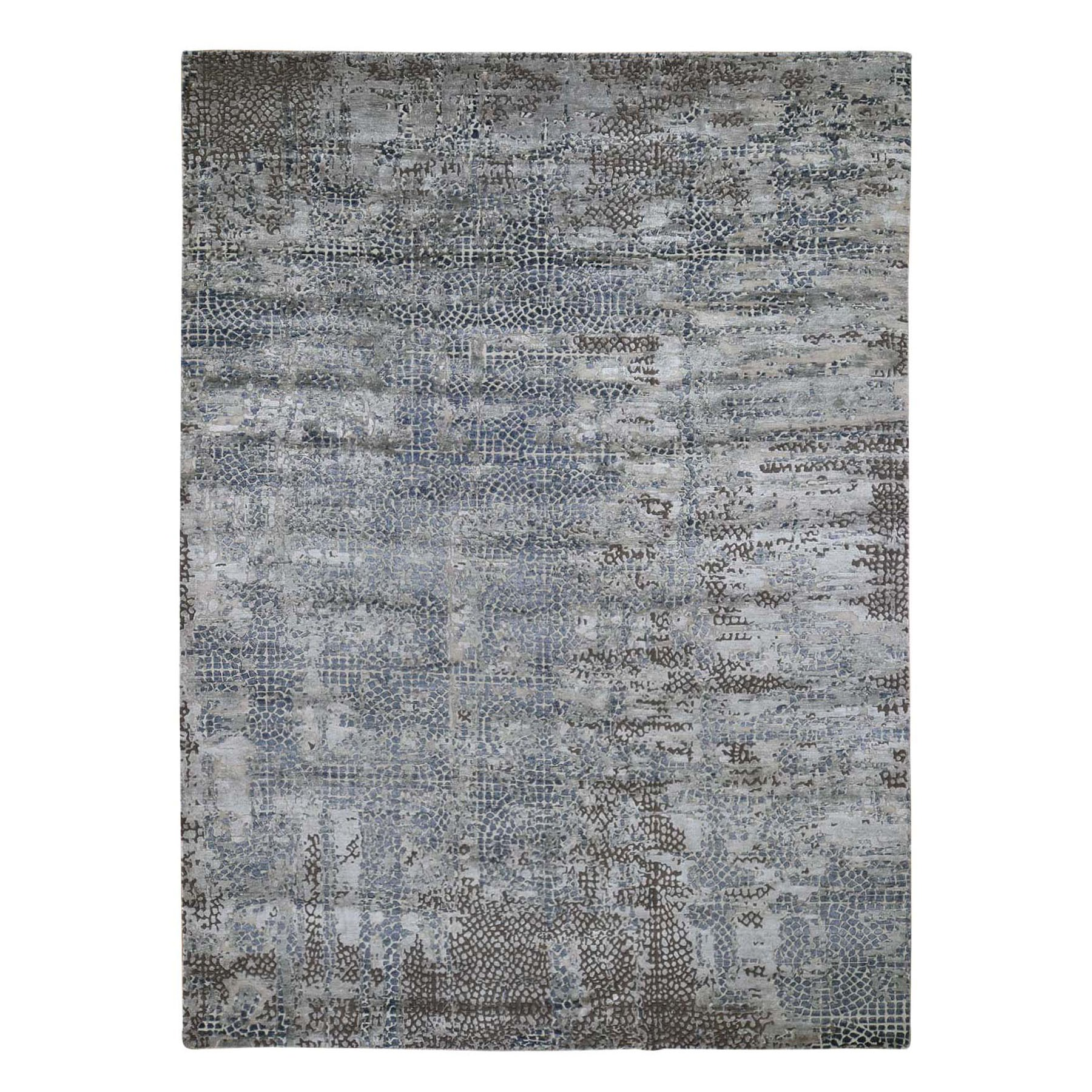 9'X12' Erased Mosaic Design Wool And Silk Hand-Knotted Oriental Rug moad9cad
