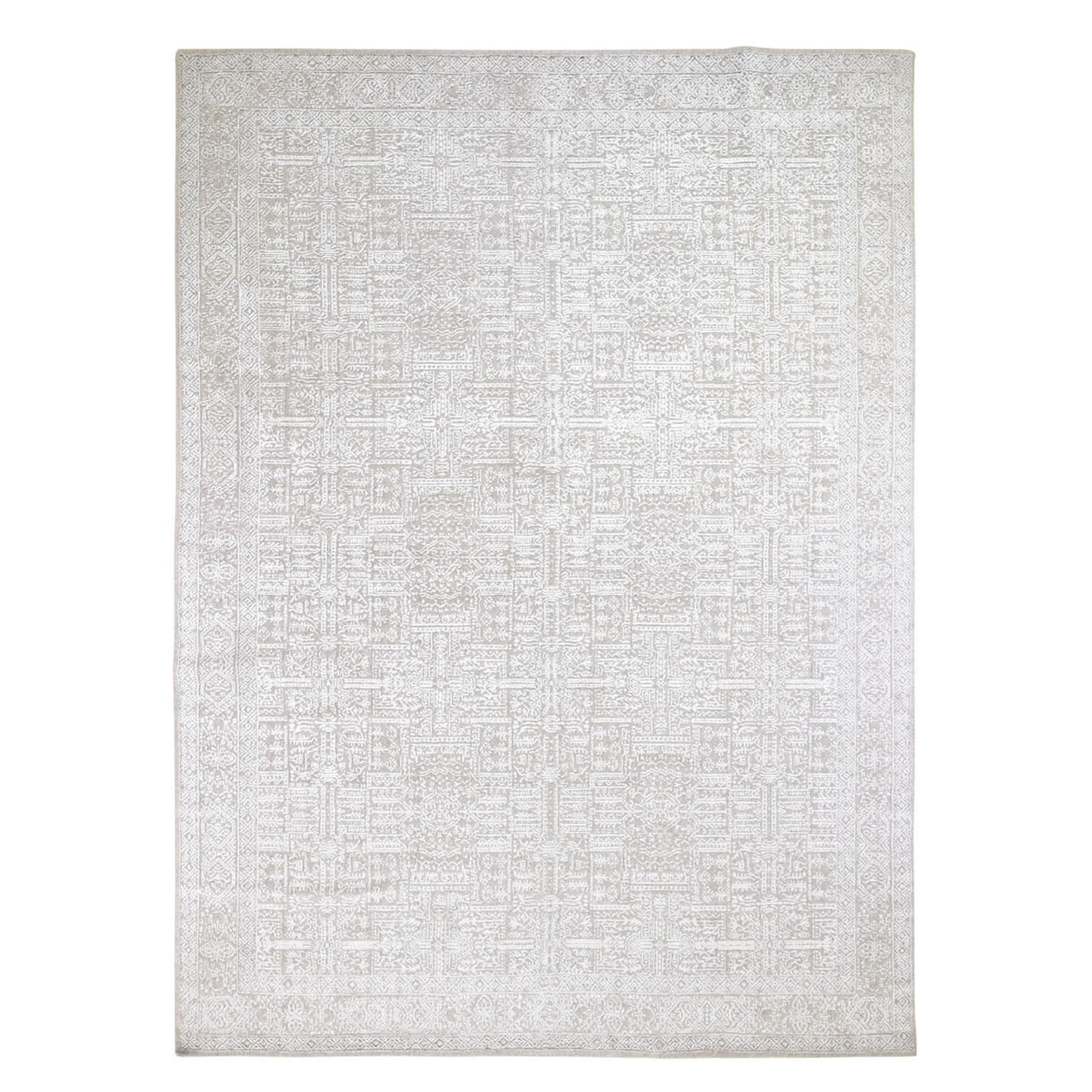 "9'9""X13'8"" Gray Fine Jacquard Hand Loomed Modern Wool And Art Silk Oriental Rug moad9ca7"