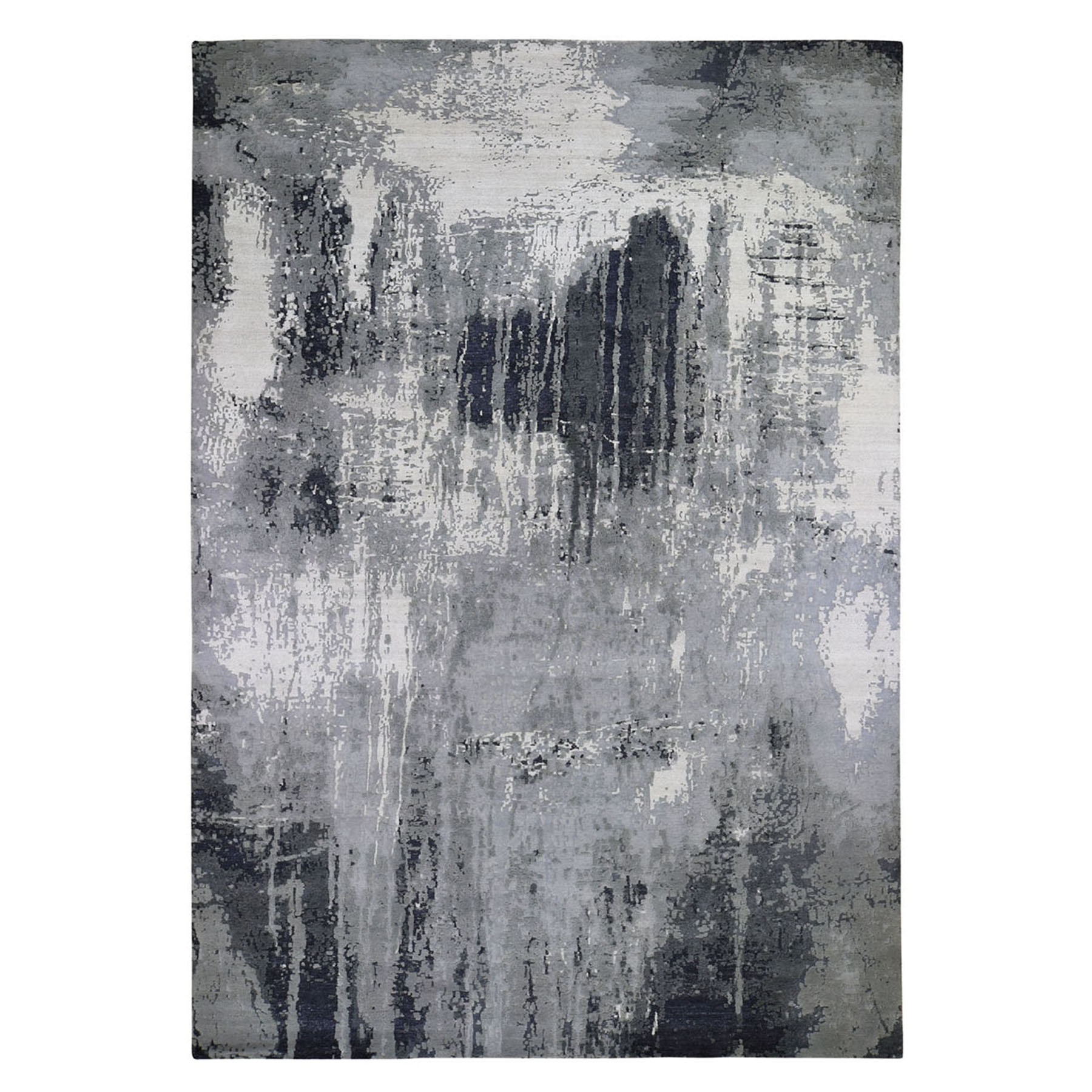 "10'X14'2""  Gray-Black Abstract Design Wool And Silk Hand Knotted Oriental Rug moad9ca9"