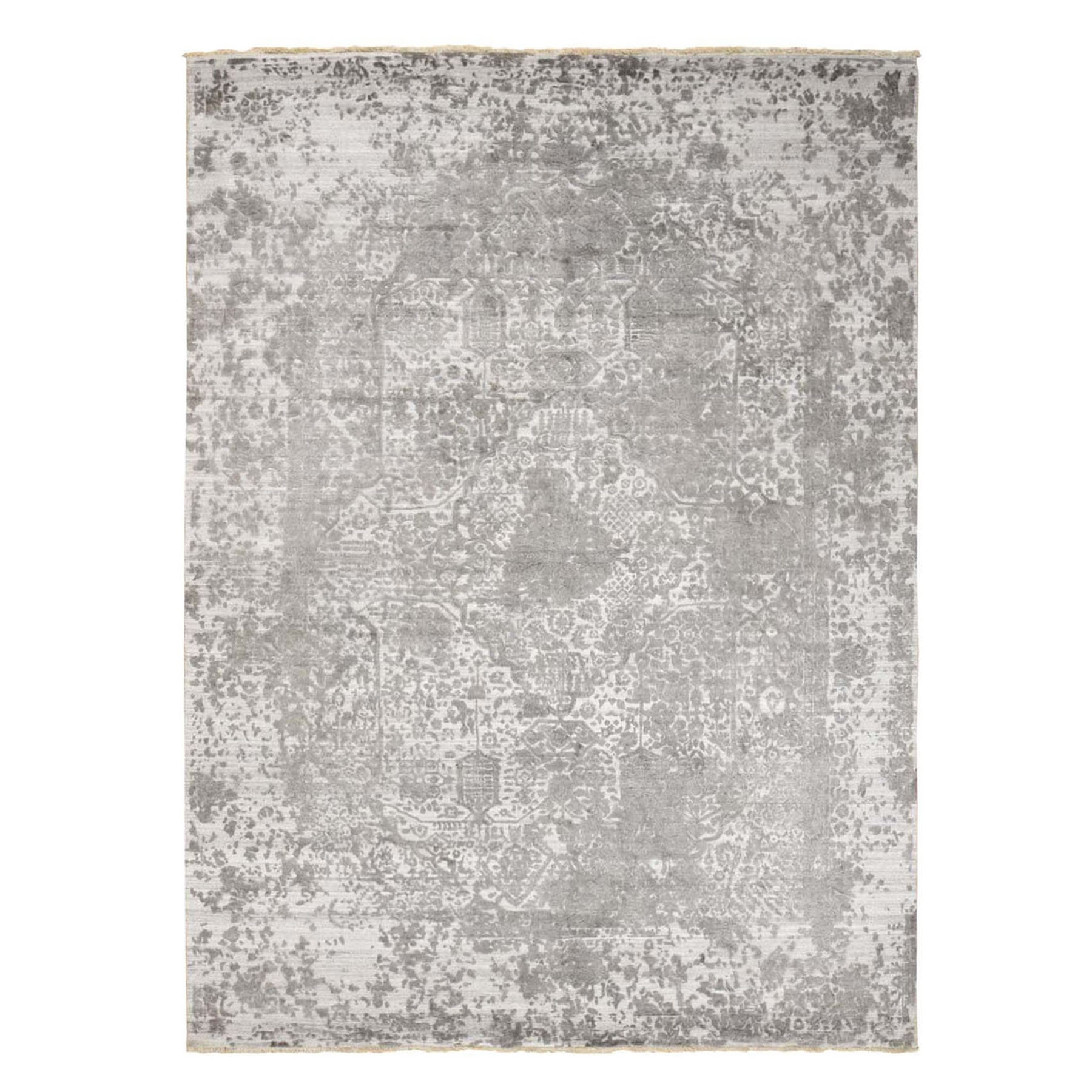 "9'X12'2"" Gray Broken Persian Design Wool And Pure Silk Hand Knotted Oriental Rug moad9cba"