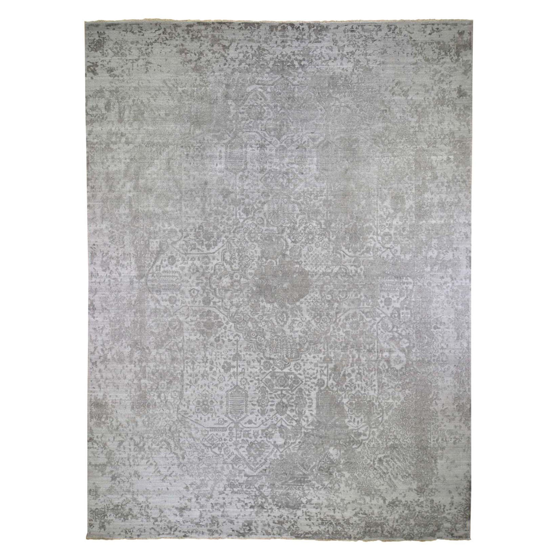 "11'10""X15' Oversized Broken Persian Design Wool And Pure Silk Hand Knotted Oriental Rug moad9cbc"