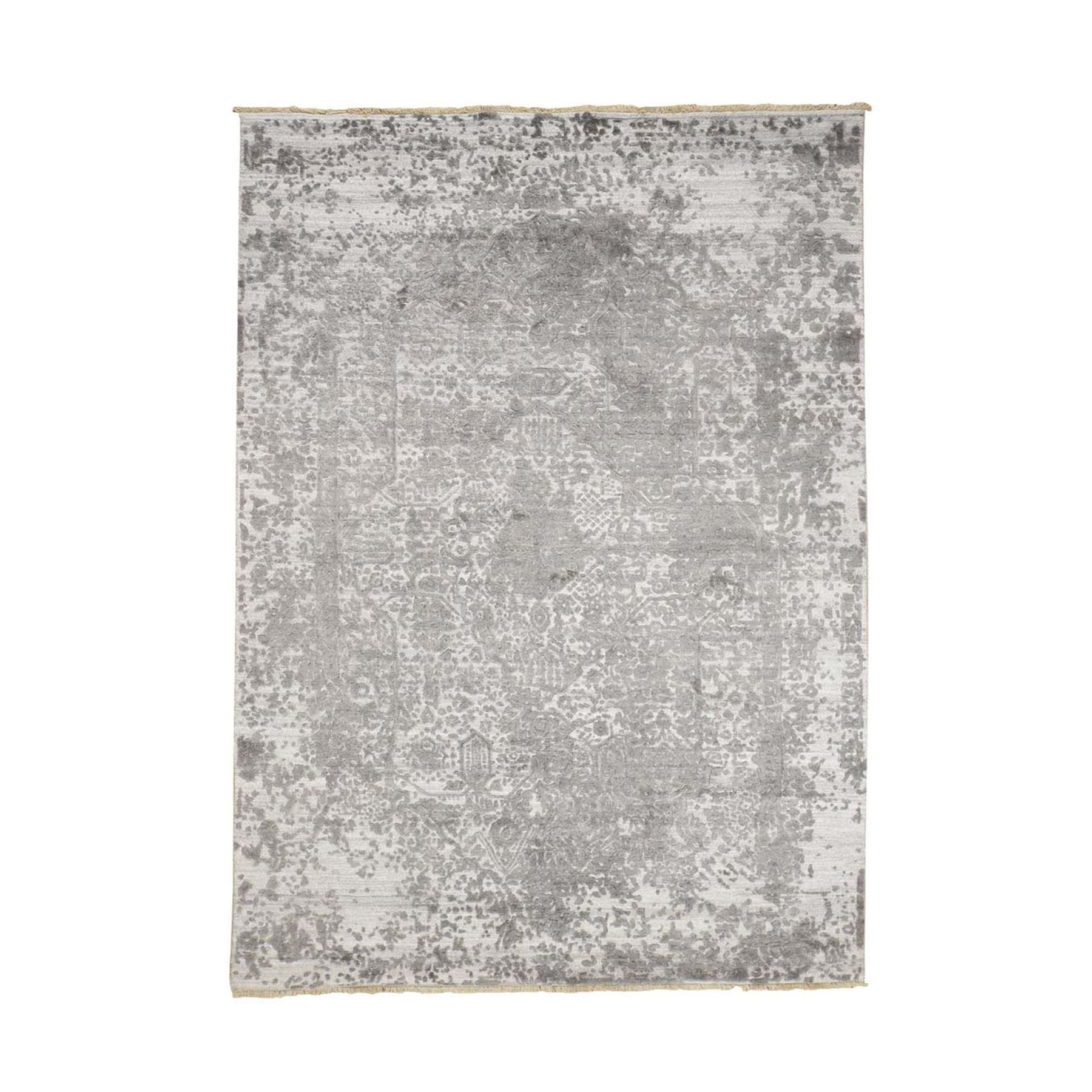 5'X7' Grey Broken Persian Design Wool And Pure Silk Hand Knotted Oriental Rug moad9cbd