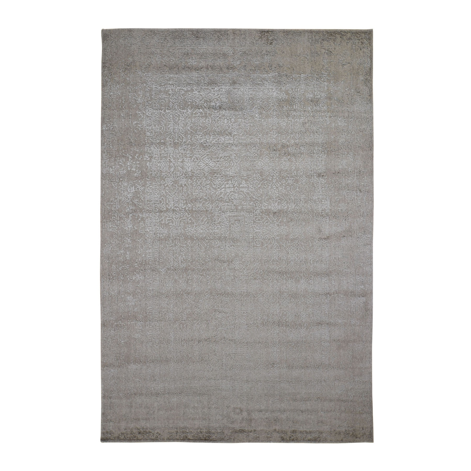 """5'9""""X9' Taupe Fine Jacquard Hand Loomed Modern Wool And Art Silk Oriental Rug moad9ccc"""