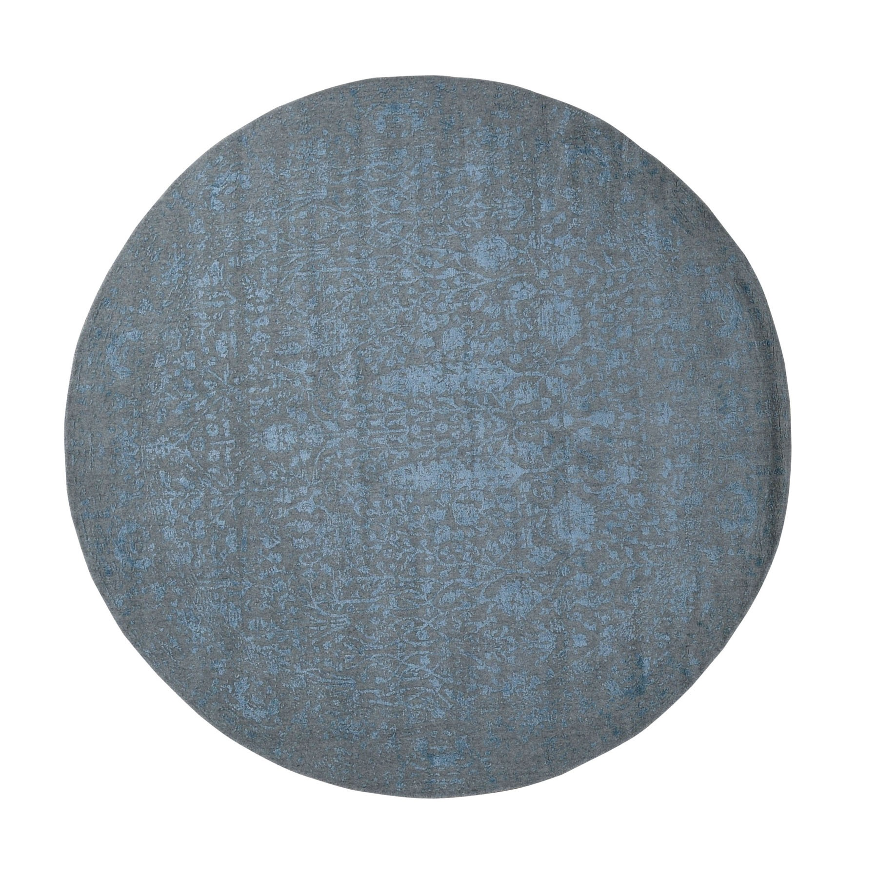 """7'10""""X7'10"""" Round Gray Broken Cypress Tree Design Wool And Silk Thick Hand Loomed Oriental Rug moad9cd0"""
