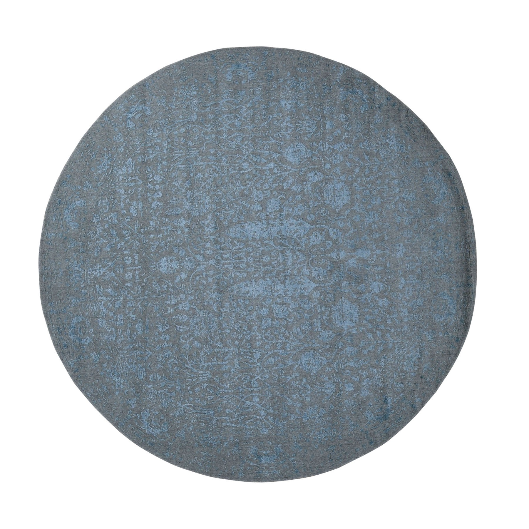 8'X8' Round Gray Broken Cypress Tree Design Wool And Silk Thick Hand Loomed Oriental Rug moad9cda