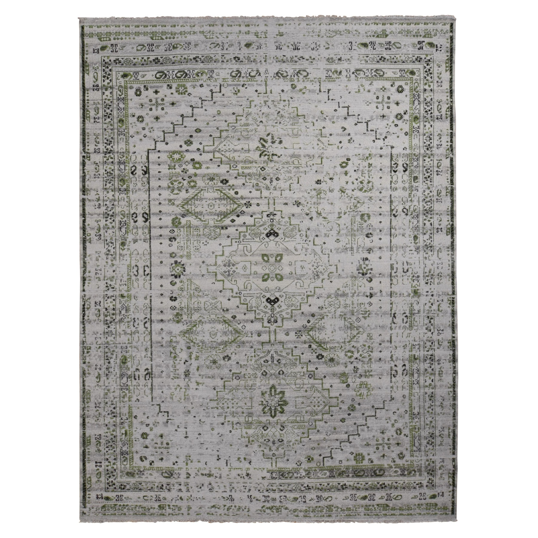 """9'X11'10"""" Green Erased And Distressed Textured Pure Wool Shiraz Hand Knotted Oriental Rug moad9cde"""
