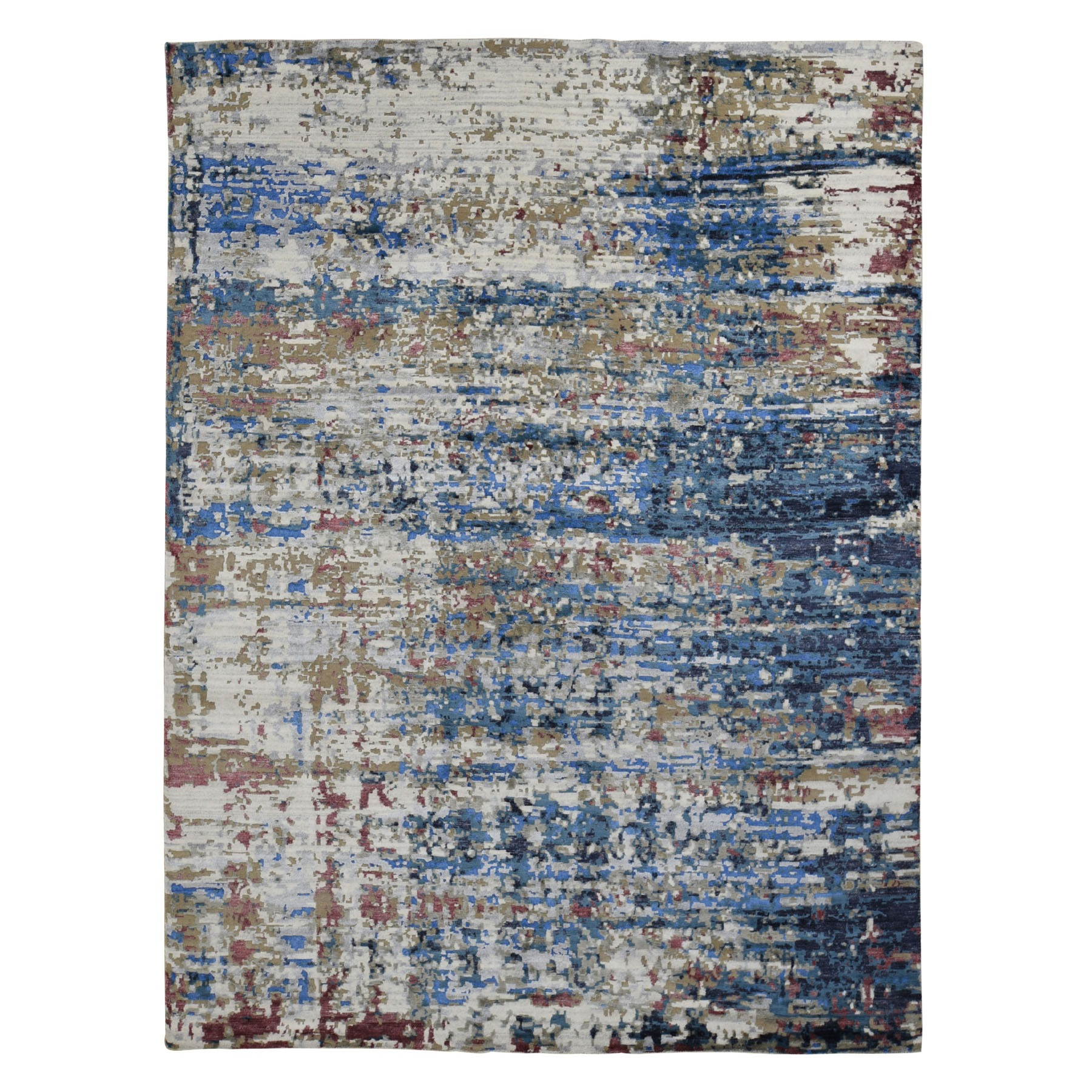 9'X12' Blue Abstract Design Wool And Silk Hand Knotted Oriental Rug moad9cd6