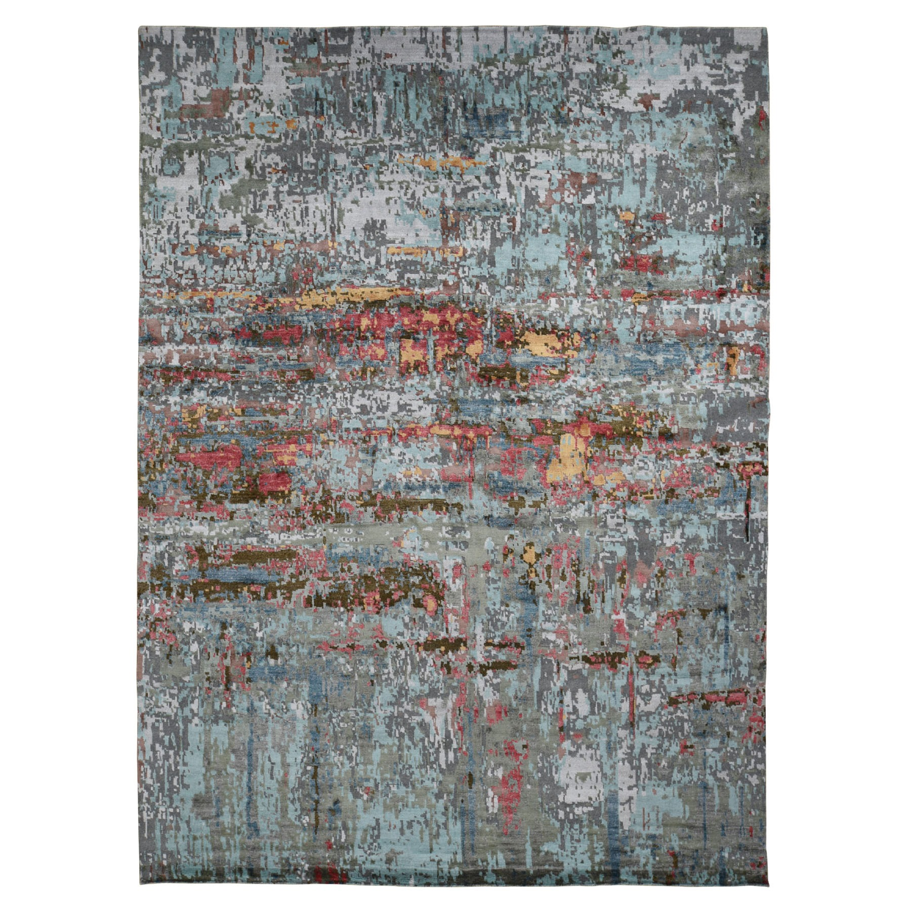 """9'10""""X13'8"""" Colorful Abstract Design Wool And Silk Hand Knotted Oriental Rug moad9cd9"""