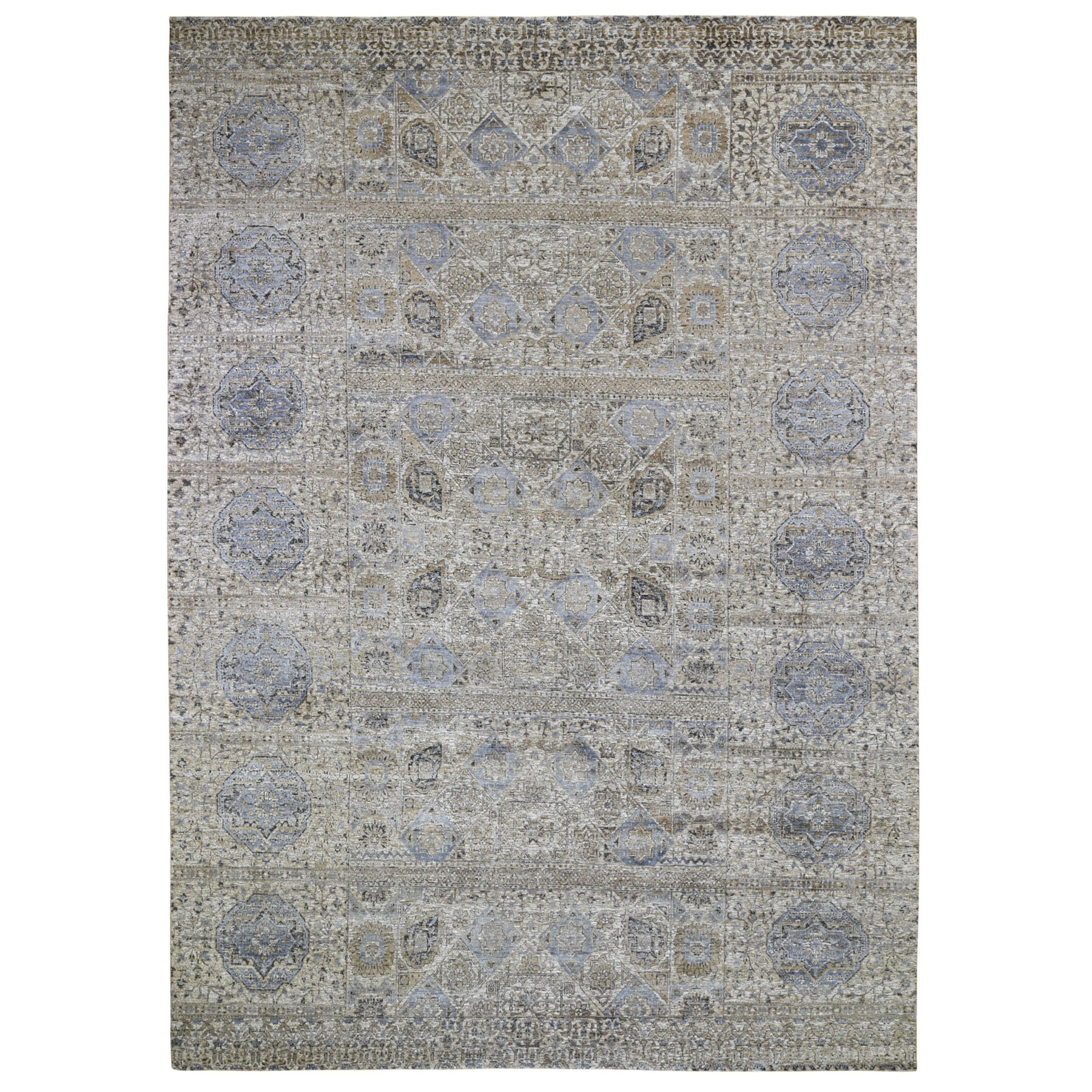 """8'10""""X12'3"""" Beige-Silver Silk With Textured Wool Mamluk Design Hand Knotted Rug moad9cec"""