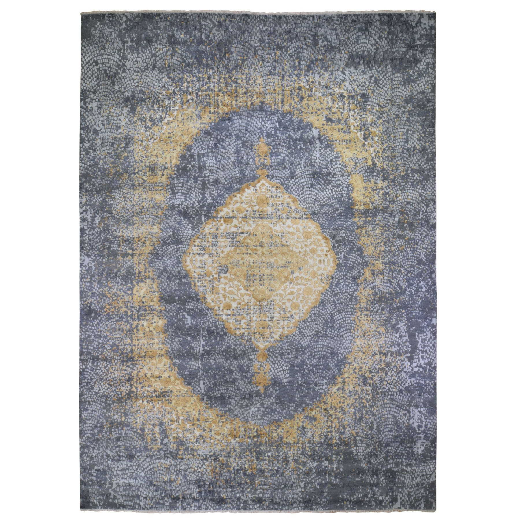 """10'x13'9"""" Gold Persian Design Wool And Pure Silk Hand Knotted Oriental Rug"""