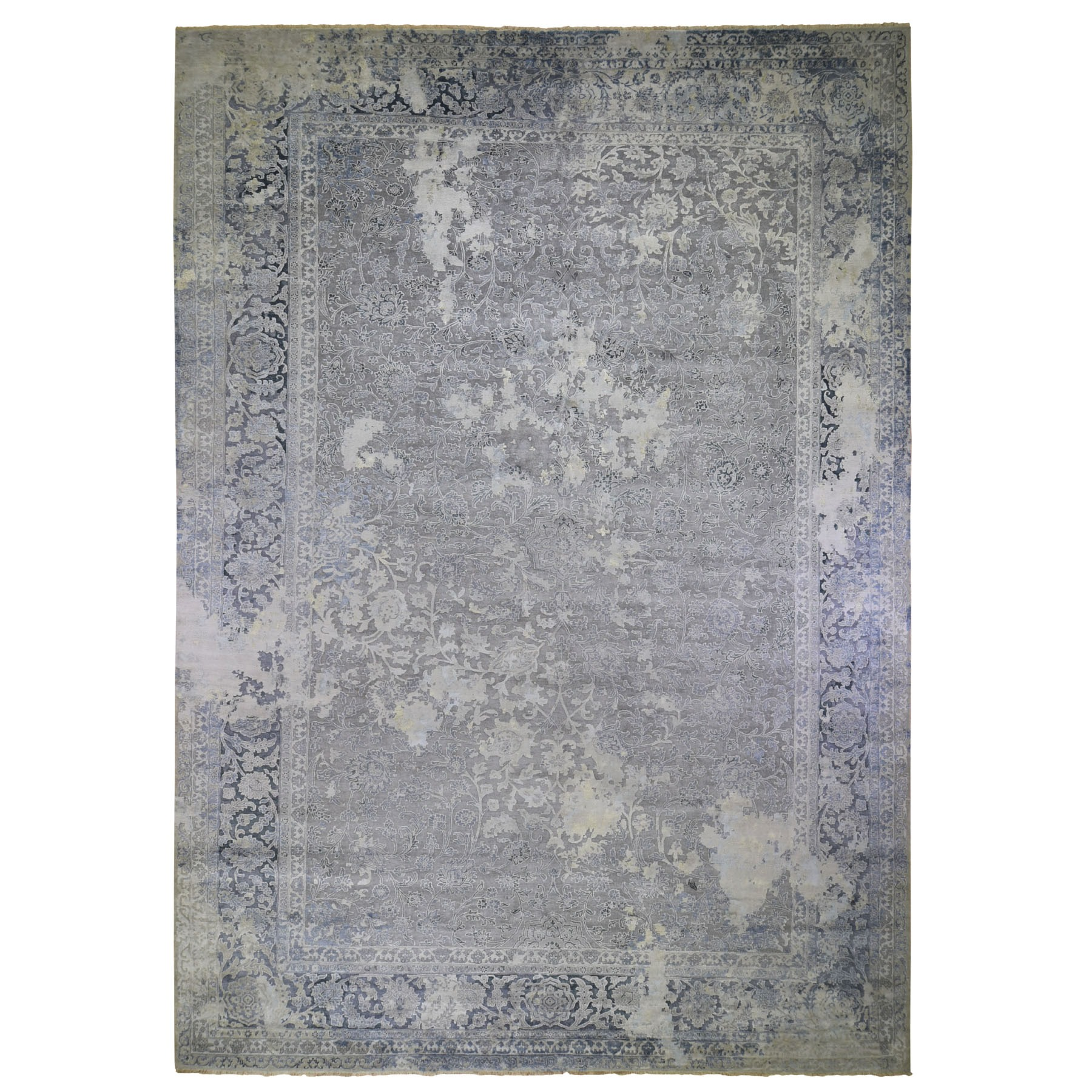 12'X18' Oversized Gray Broken Persian Design Wool With Pure Silk Hand Knotted Oriental Rug moad9ce7