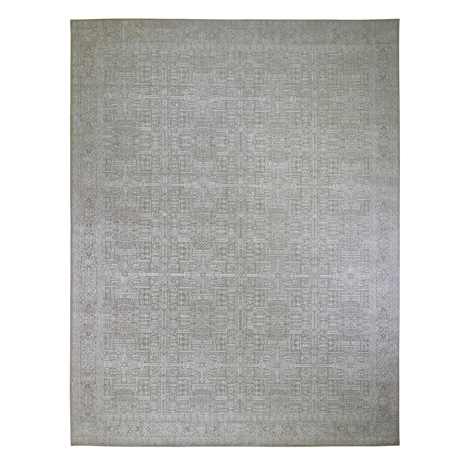 "11'9""X15'1"" Oversized Gray Fine Jacquard Hand Loomed Modern Wool And Art Silk Oriental Rug moad9ce9"