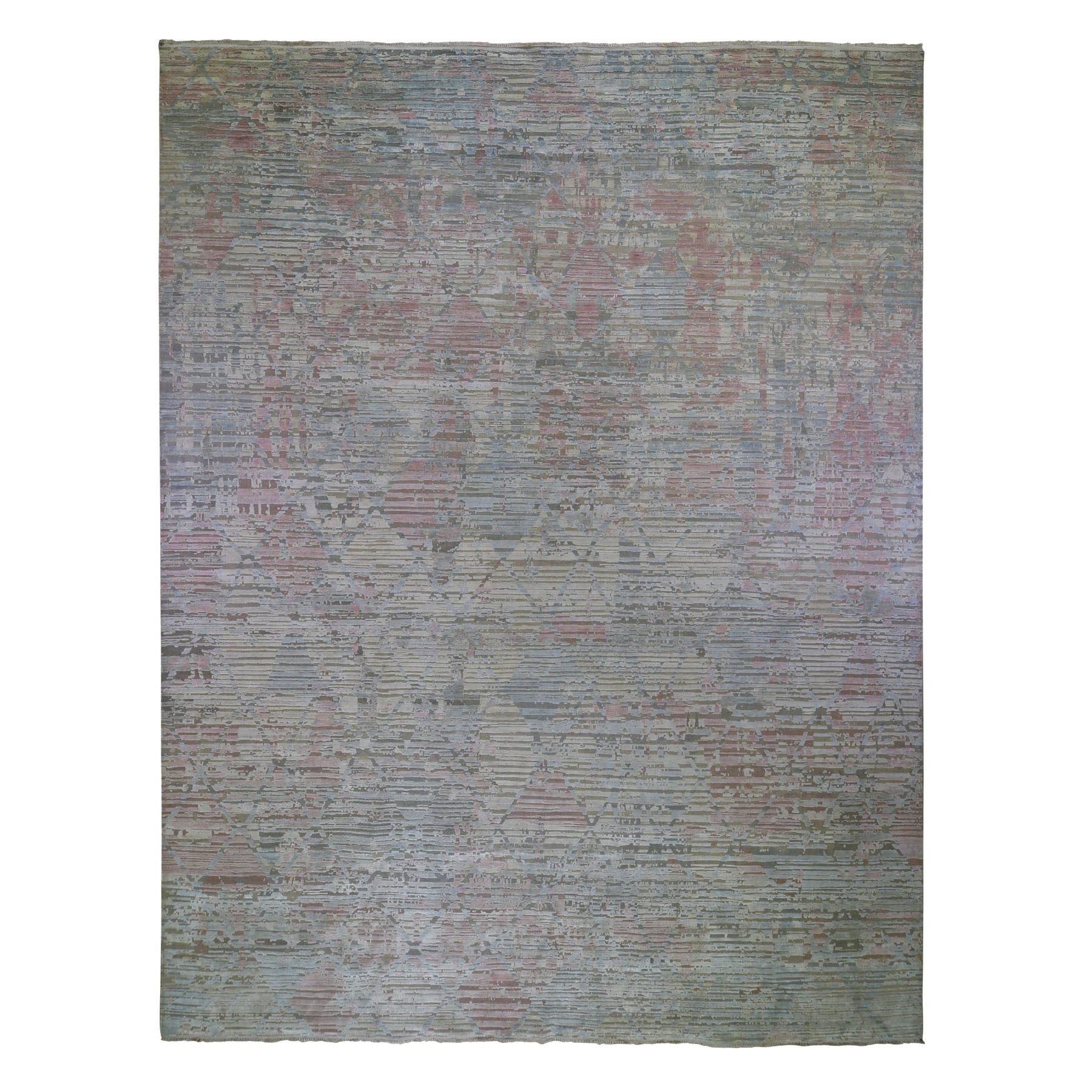 "12'X15'3"" Oversized The Pastel Collection, Silk With Textured Wool Hand Knotted Oriental Rug moad9c60"