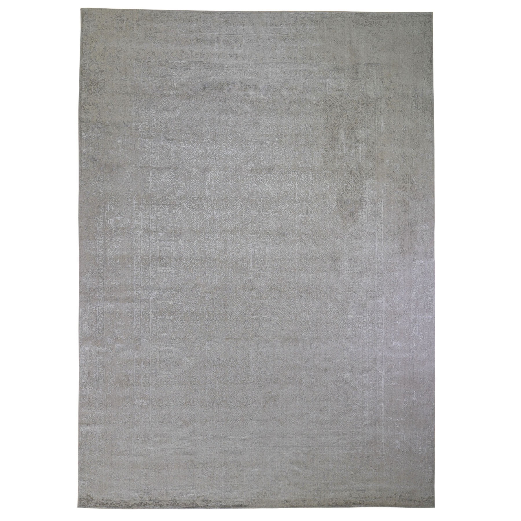 """9'10""""X14'1"""" Taupe Fine Jacquard Hand Loomed Modern Wool And Art Silk Oriental Rug moad9c6a"""