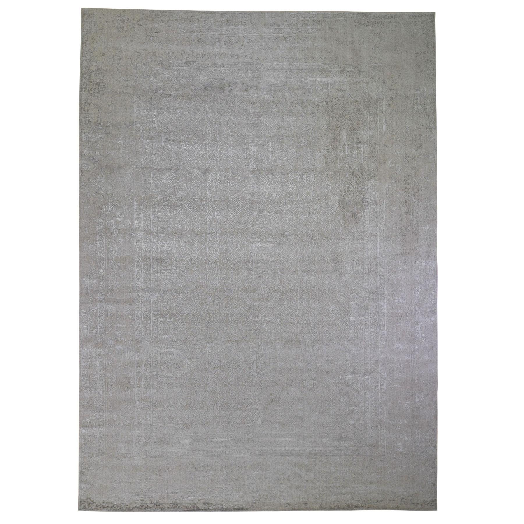 "9'10""x14'1"" Taupe Fine Jacquard Hand Loomed Modern Wool And Art Silk Oriental Rug"