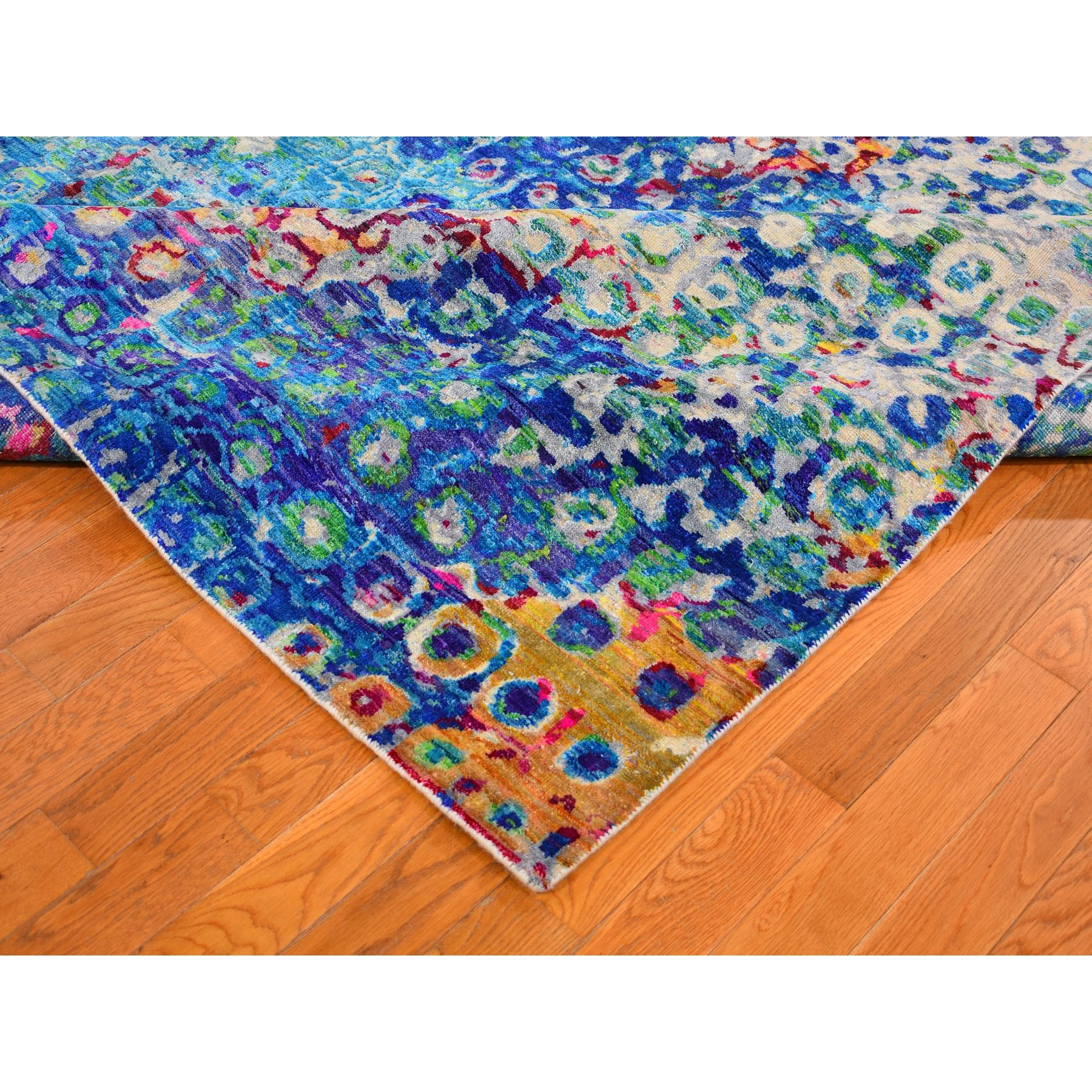 9-x12- THE PEACOCK, Sari Silk Colorful Hand Knotted Oriental Rug