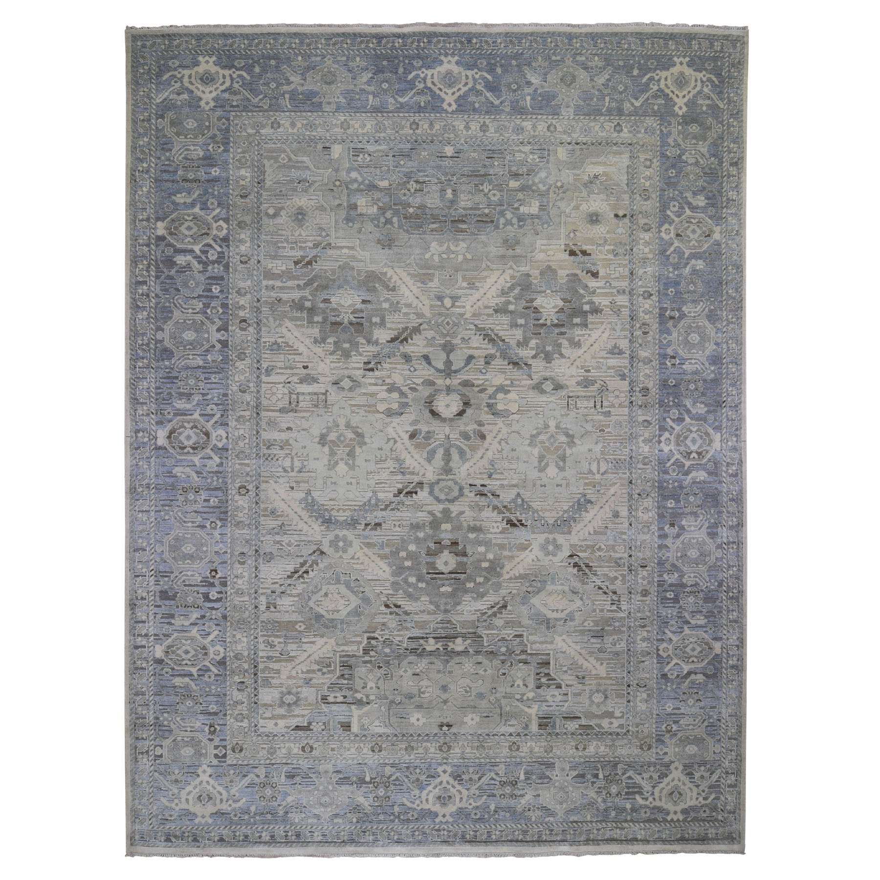 "9'1""X12' Hand Knotted Pure Silk And Textured Wool Oushak With Geometric Motif Oriental Rug moad9c6e"