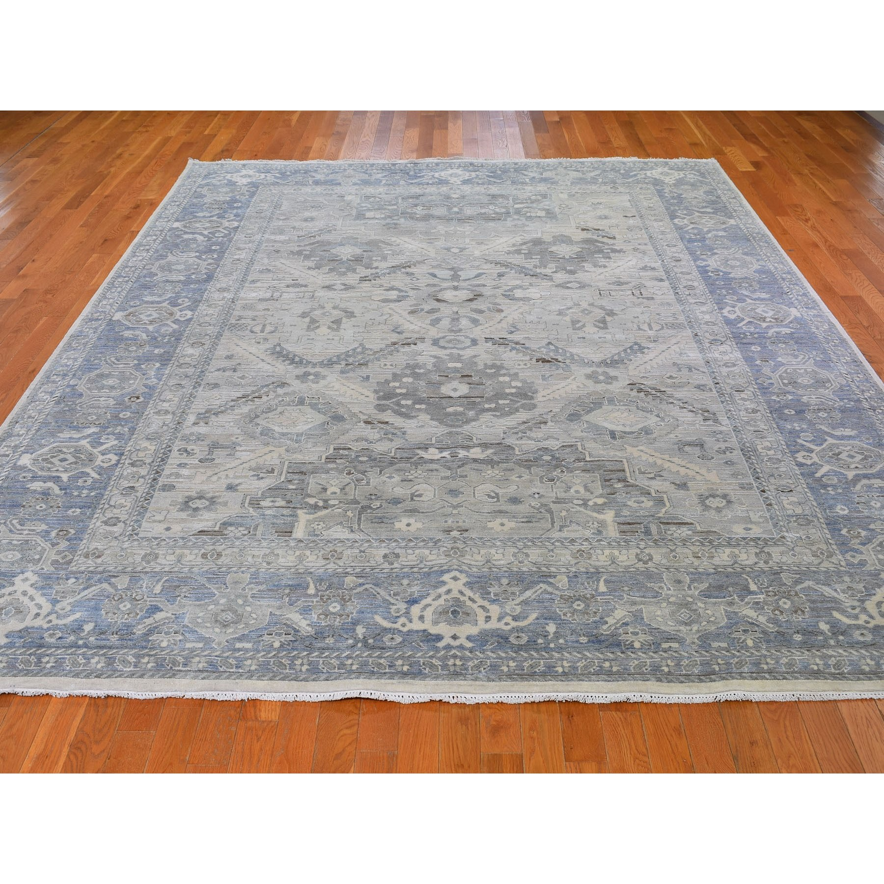 9-1 x12- Hand Knotted Pure Silk And Textured Wool Oushak With Geometric Motif Oriental Rug
