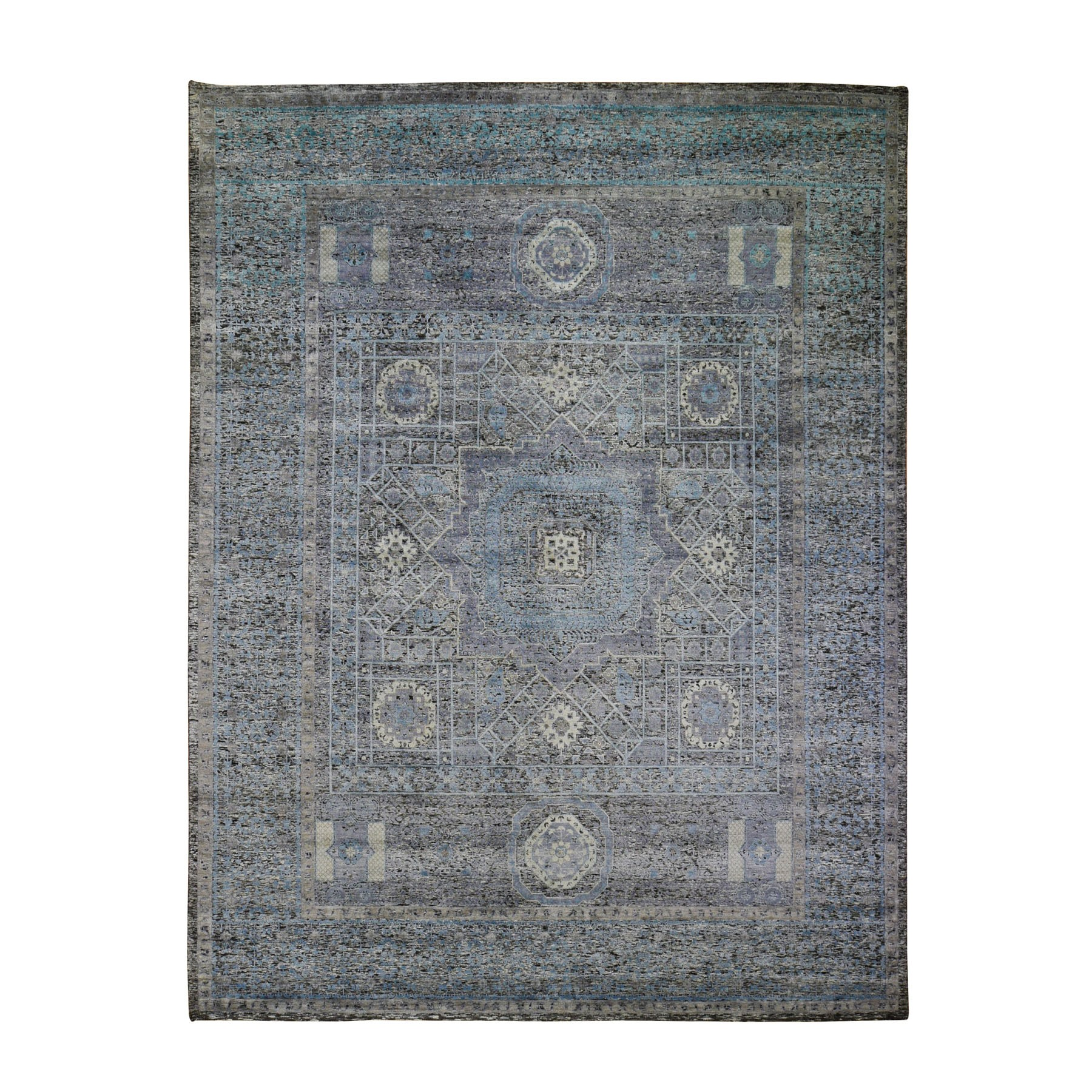 "8'X10'3"" Silk With Textured Wool Hi-Low Pile Mamluk Design Hand Knotted Oriental Rug moad9c66"