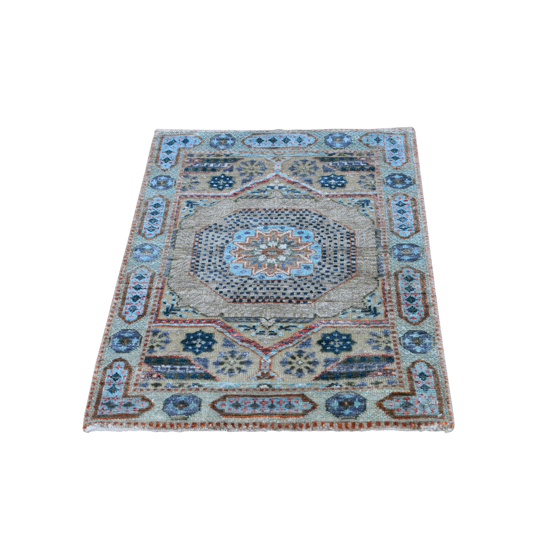 "2'x3'1"" Blue Silk With Textured Wool Mamluk Design Hand knotted Oriental Rug"