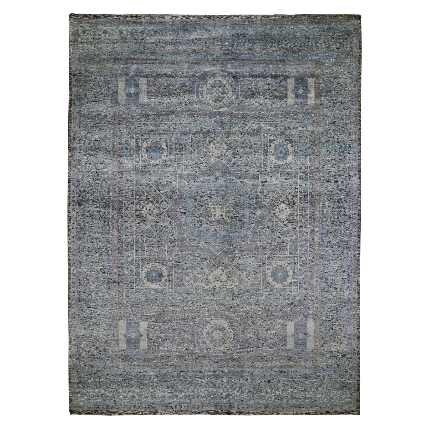 "8'8""X11'10"" Silk With Textured Wool Hi-Low Pile Mamluk Design Hand Knotted Oriental Rug moad9c7b"