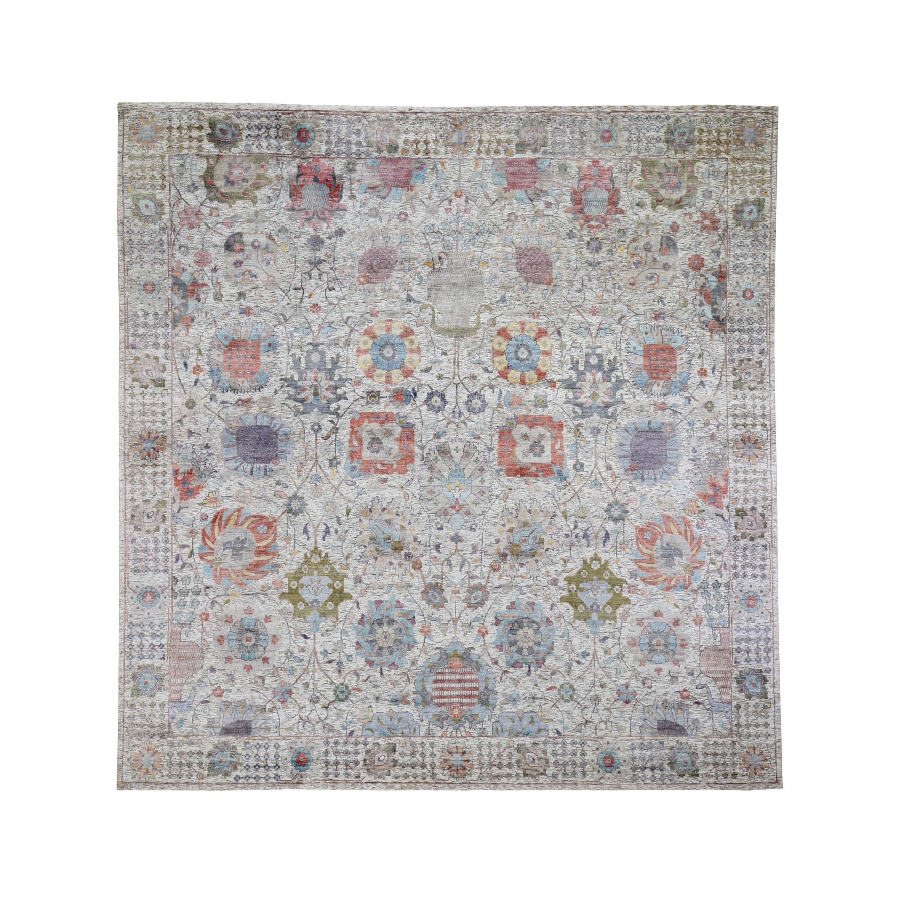 10'X10' Ivory Silk With Textured Wool Tabriz Hand Knotted Square Oriental Rug moad9c7e