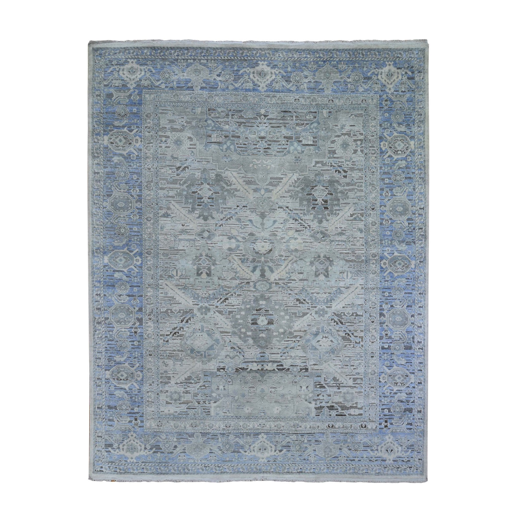 """8'X10'3"""" Hand Knotted Pure Silk And Textured Wool Oushak With Geometric Motif Oriental Rug moad9c78"""