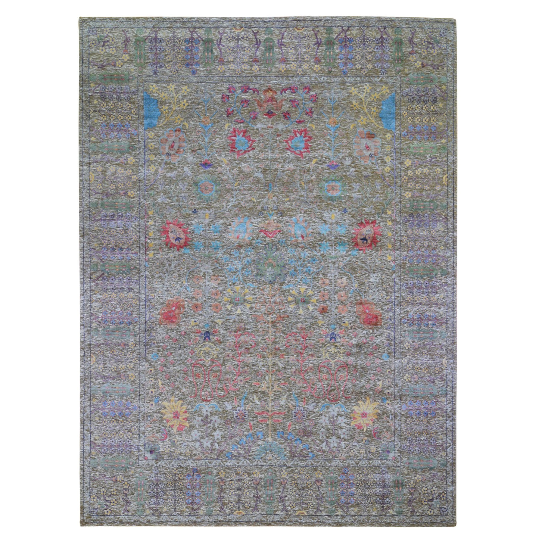 9'X12' Honey Brown Silk With Textured Wool Vaze Design Hand Knotted Oriental Rug moad9c79