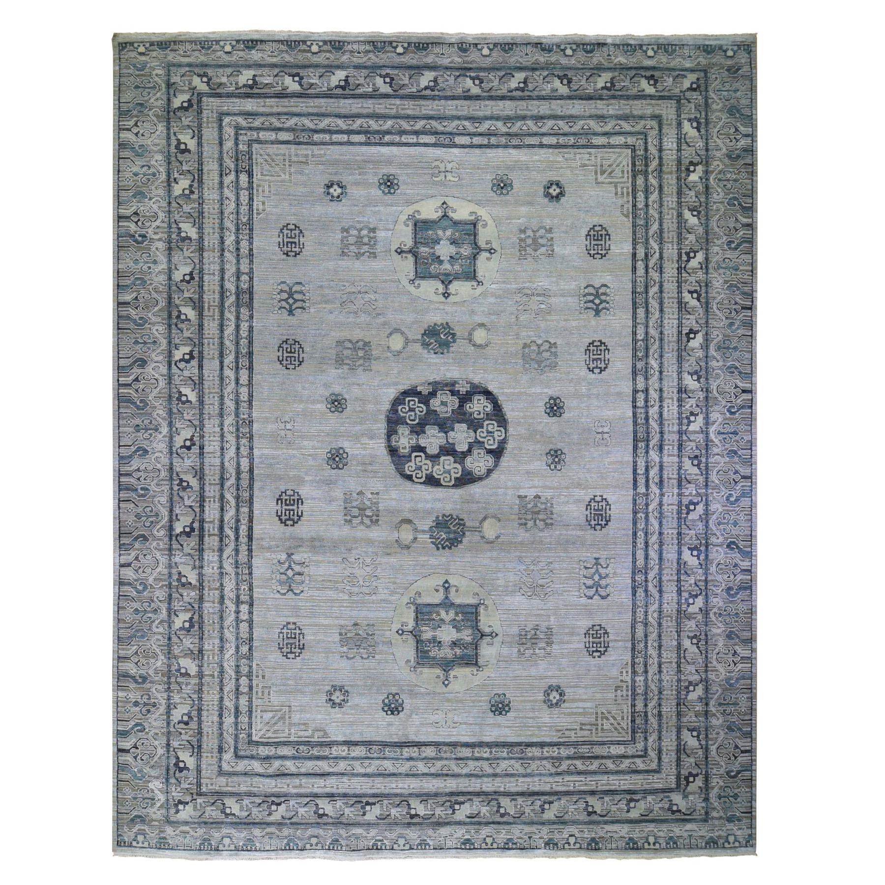 12'X15' Oversized Silver-Blue Khotan Design Pure Silk And Textured Wool Hand Knotted Oriental Rug moad9c8a