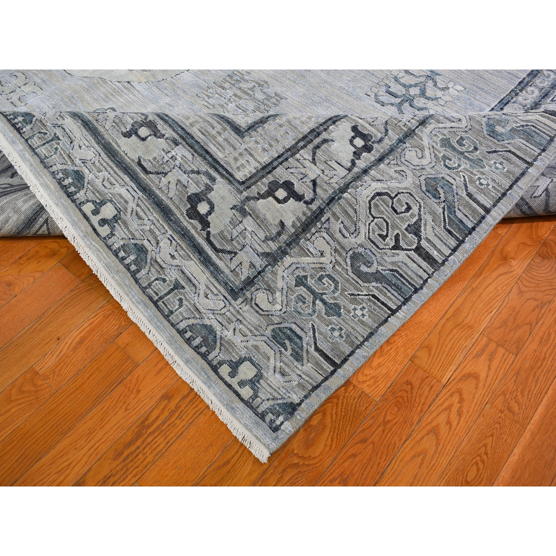 12-x15- Oversized Silver-Blue Khotan Design Pure Silk and Textured Wool Hand Knotted Oriental Rug