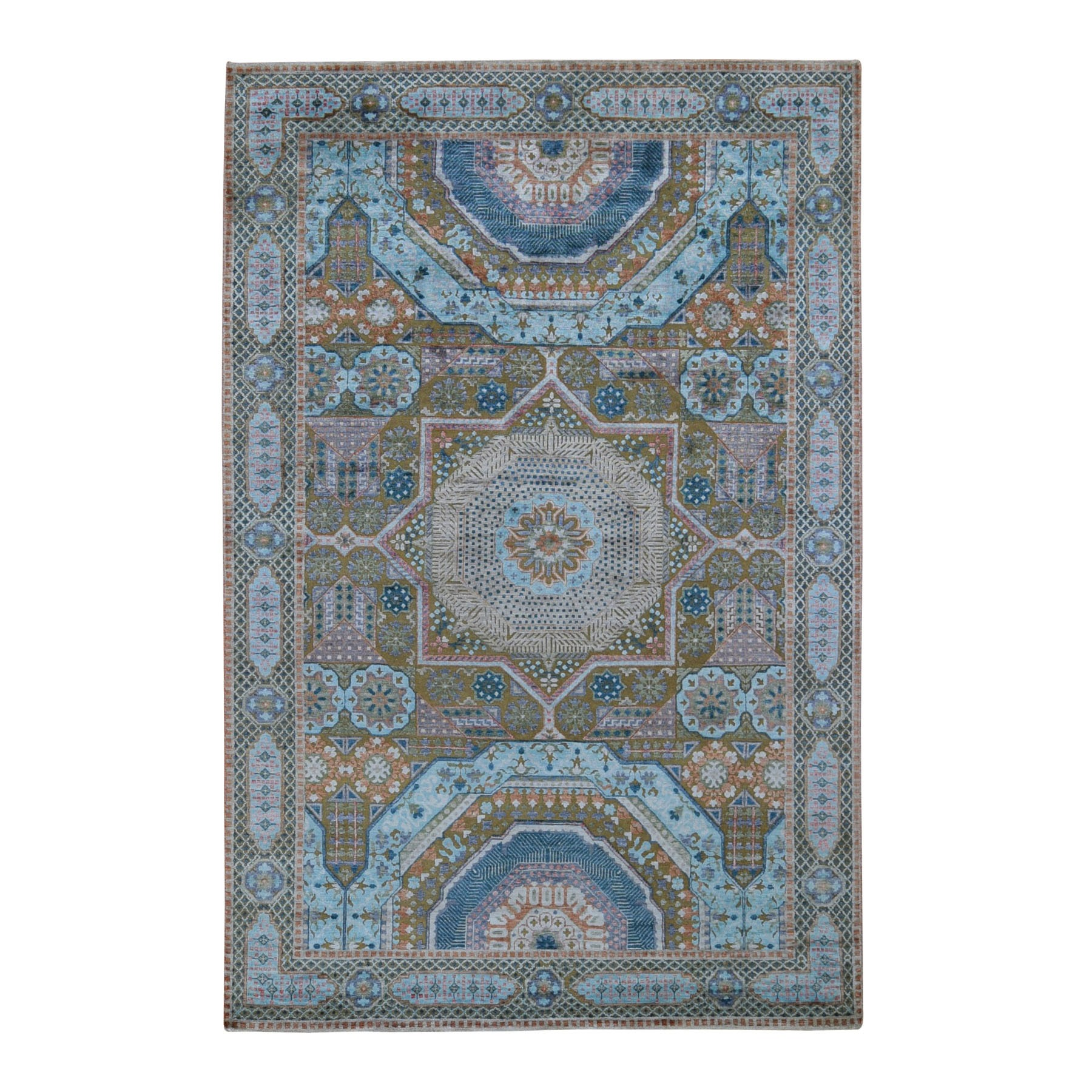 "5'10""x9' Blue Silk With Textured Wool Mamluk Design Hand knotted Oriental Rug"