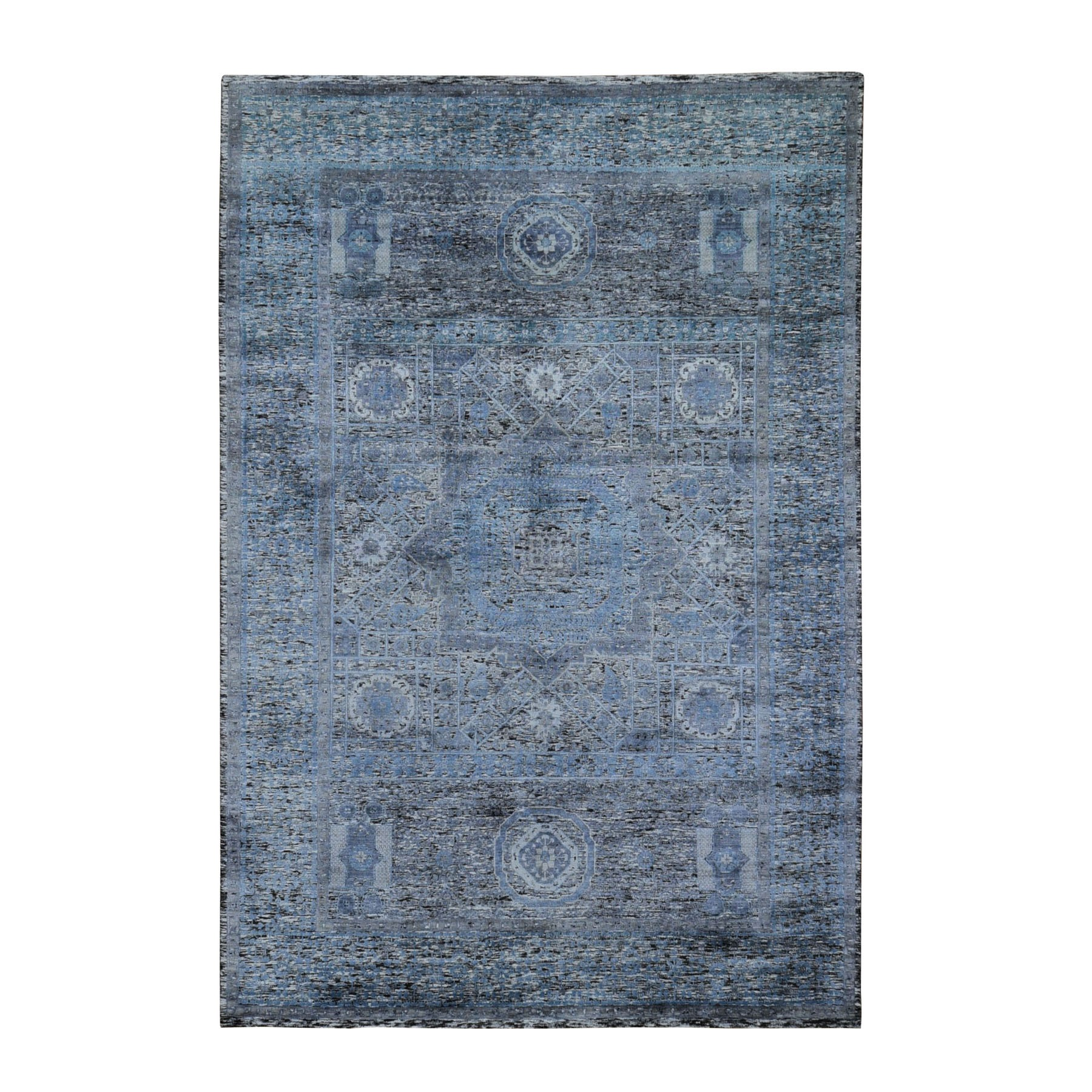 "6'1""X9'2"" Silk With Textured Wool Hi-Low Pile Mamluk Design Hand Knotted Oriental Rug moad9c8d"