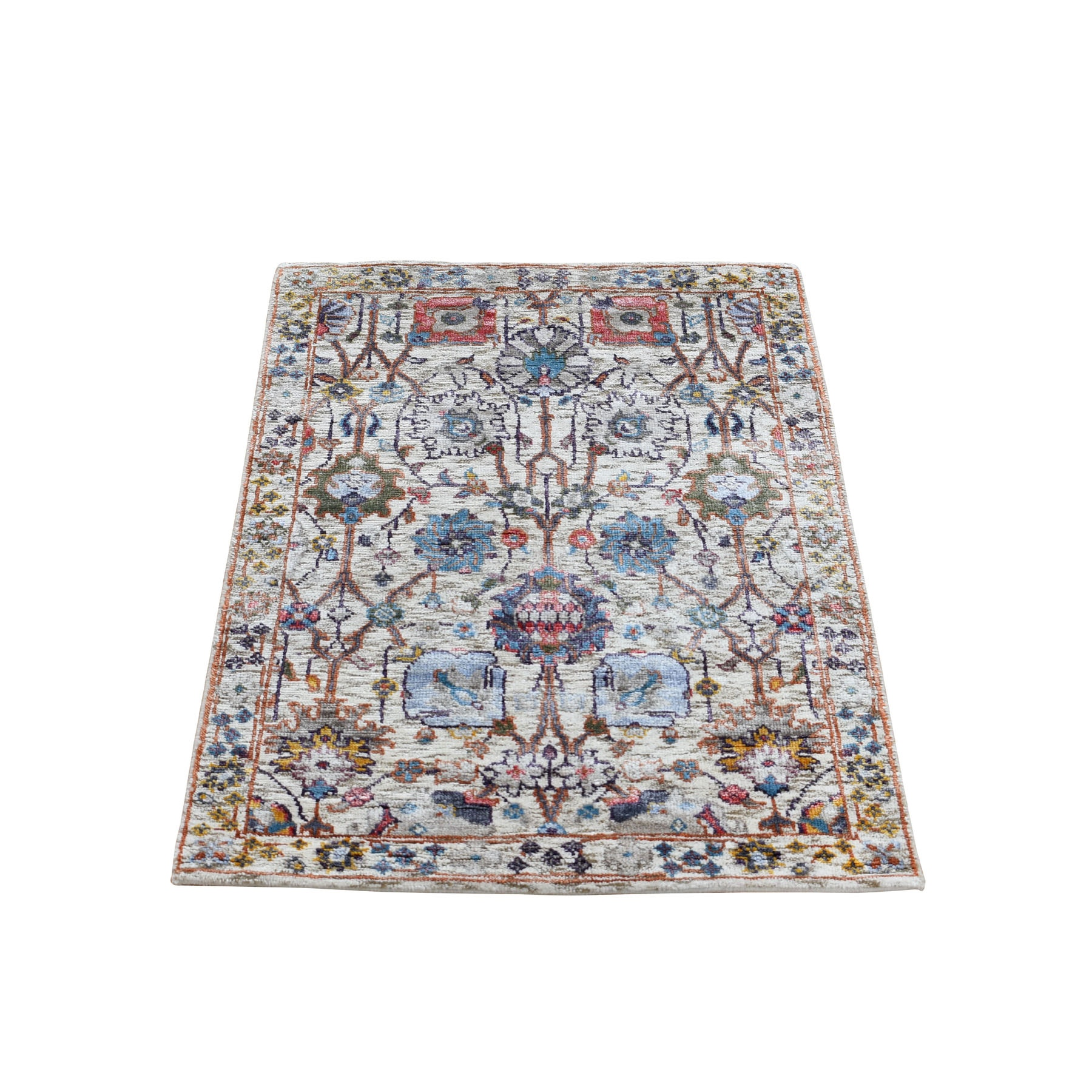 """2'X3'1"""" Ivory Silk With Textured Wool Tabriz Hand Knotted Oriental Rug moad9c87"""