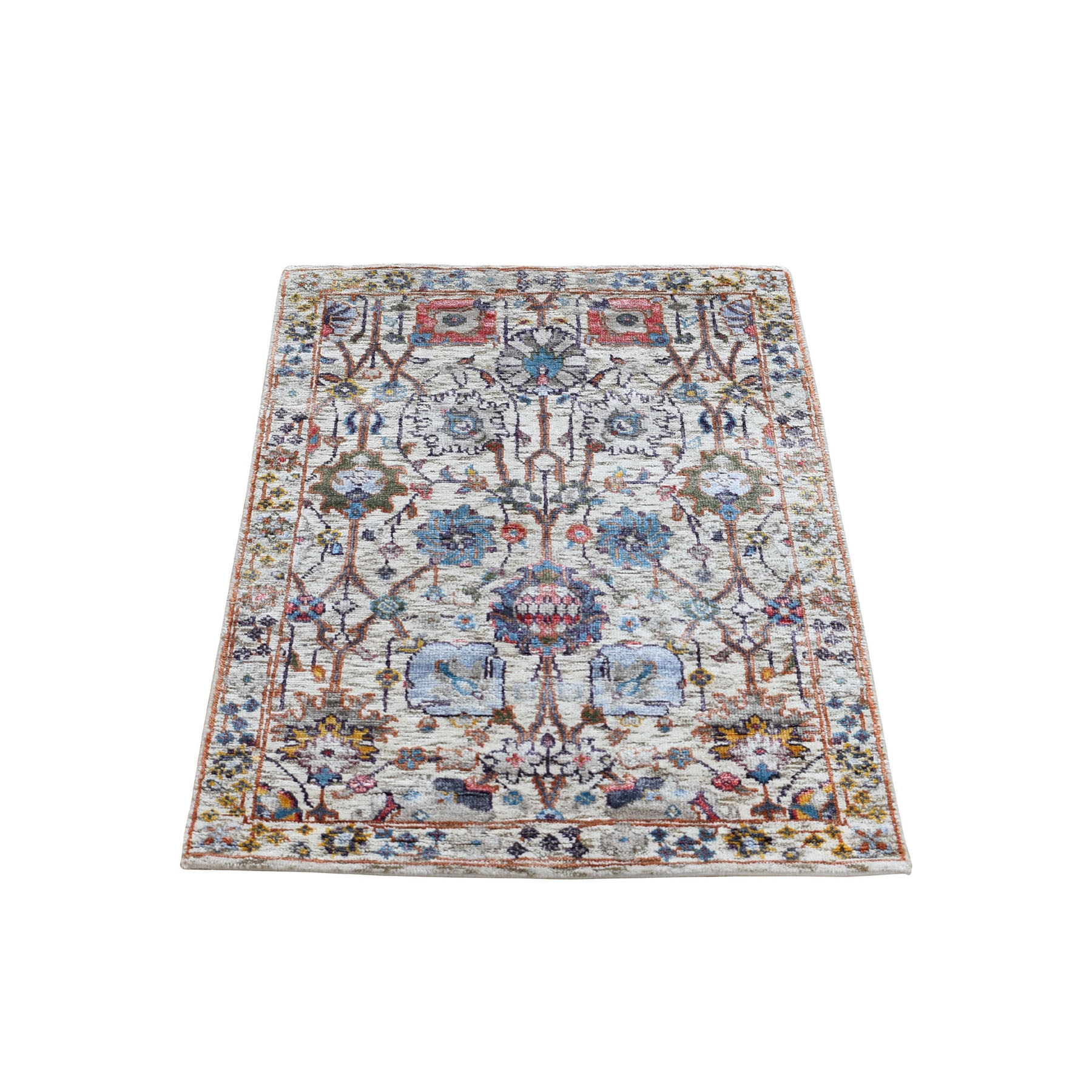 """2'1""""X3'1"""" Ivory Silk With Textured Wool Tabriz Hand Knotted Oriental Rug moad9c88"""