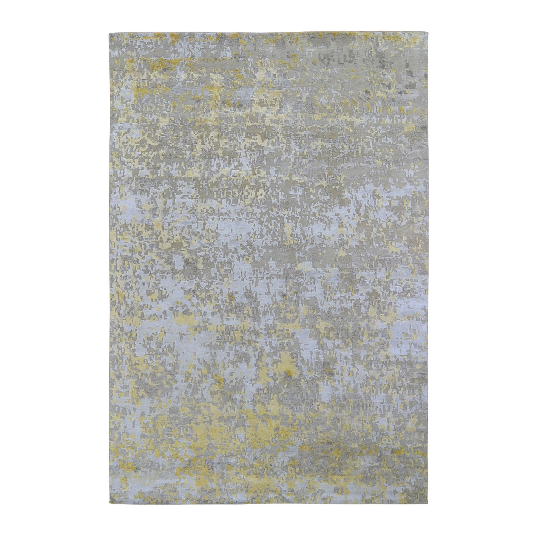 """6'X8'9"""" Gold Hi-Lo Pile Abstract Design Wool & Silk Hand Knotted Oriental Rug moad9c89"""