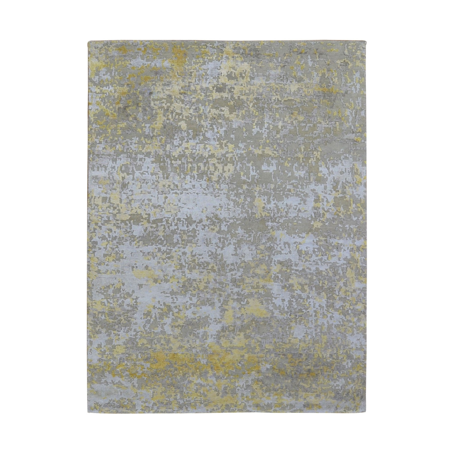 """5'X6'10"""" Gold Hi-Lo Pile Abstract Design Wool & Silk Hand Knotted Oriental Rug moad9c90"""