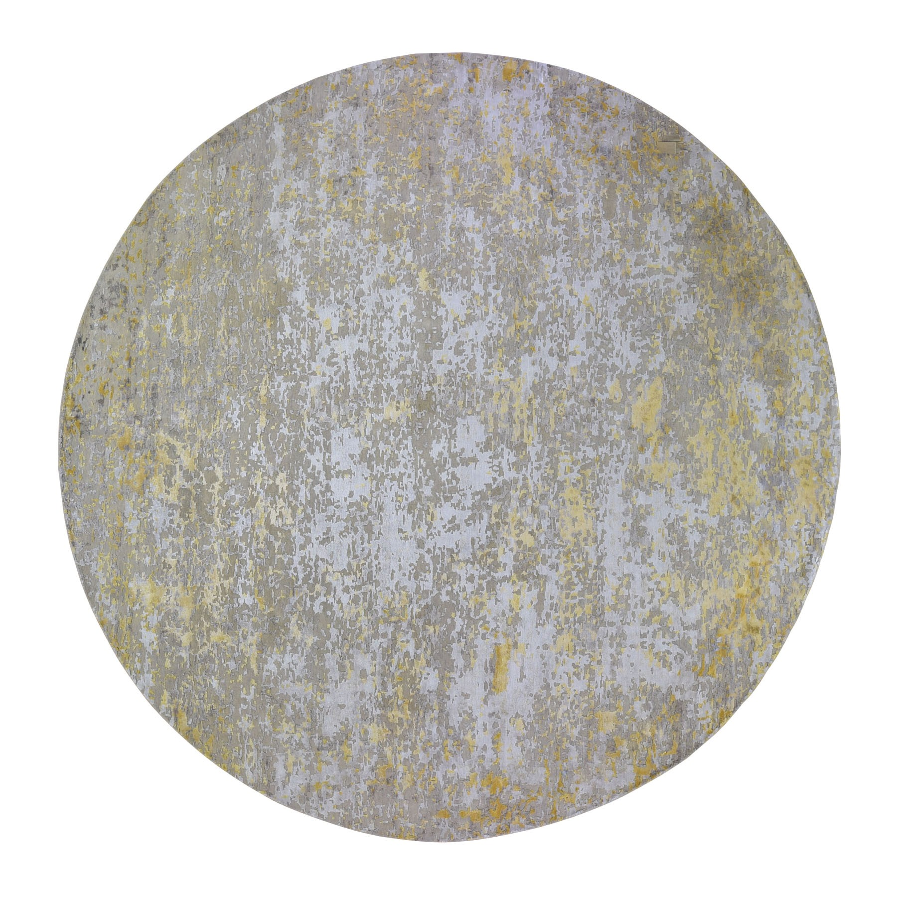 "11'10""X11'10"" Oversized Round Gold Hi-Lo Pile Abstract Design Wool And Silk Hand Knotted Oriental Rug moad9c9a"